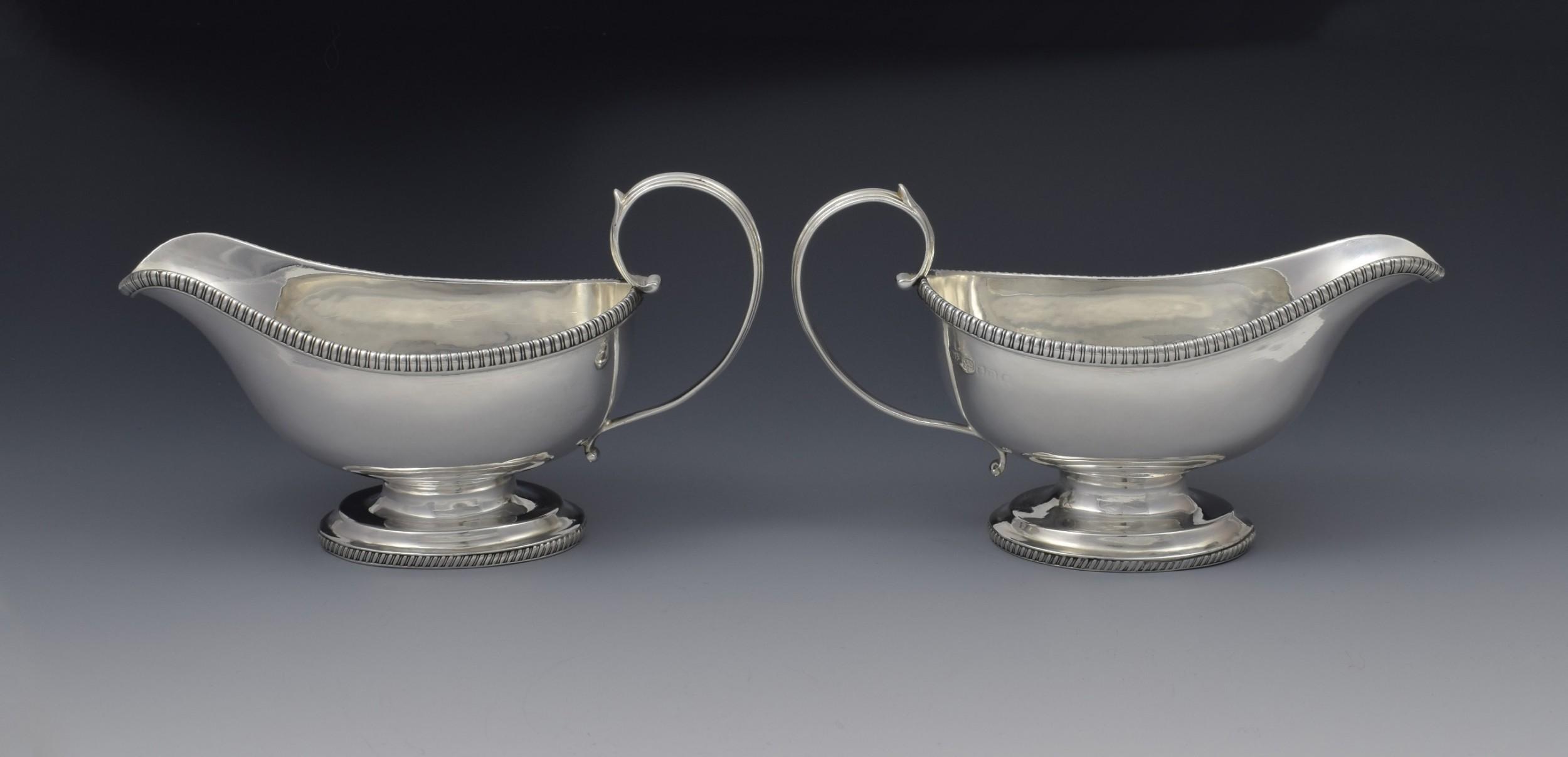 pair george iii silver pedestal sauceboats crispin fuller sauce boats