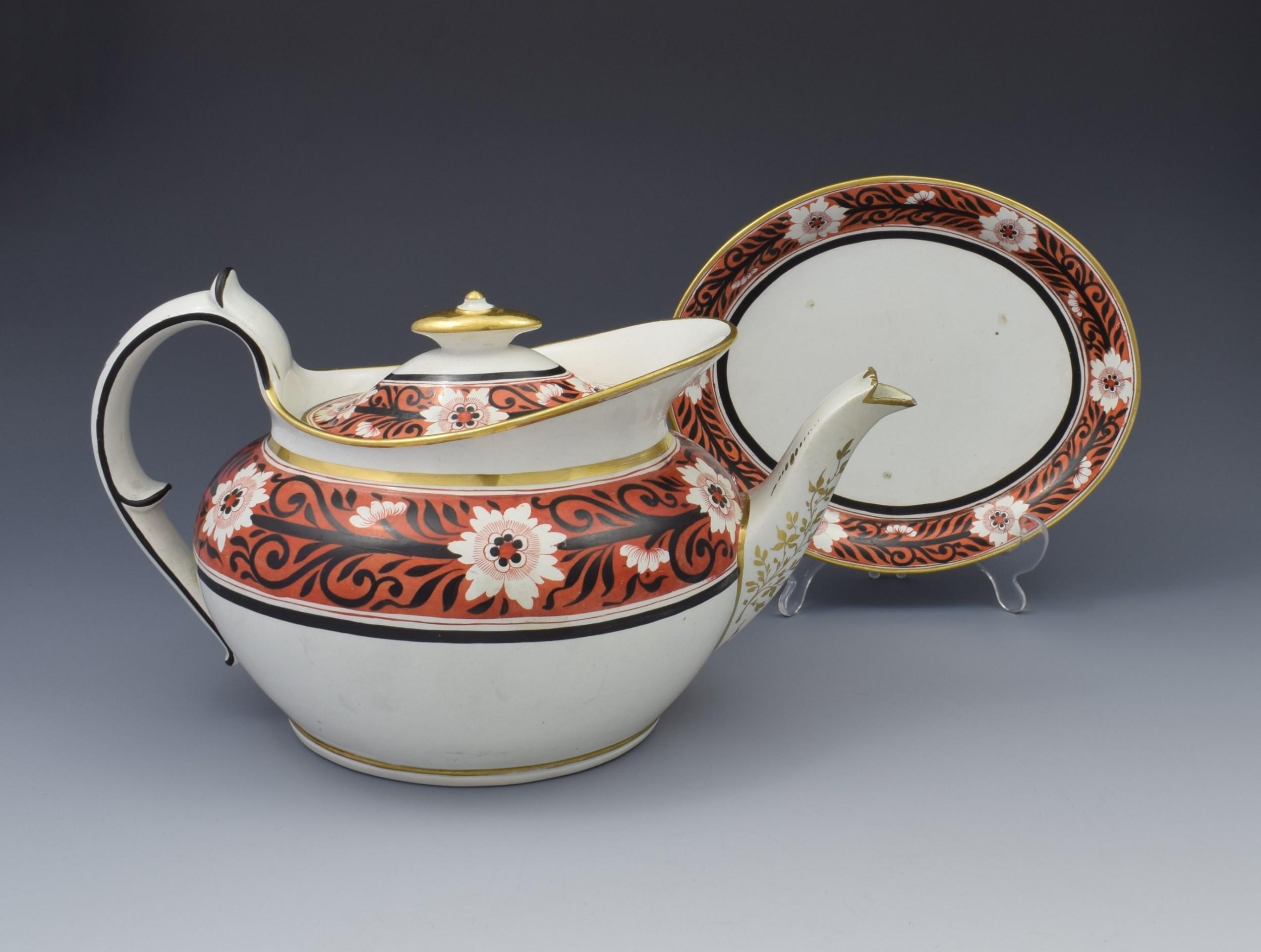 regency miles mason low oval porcelain teapot stand c1810