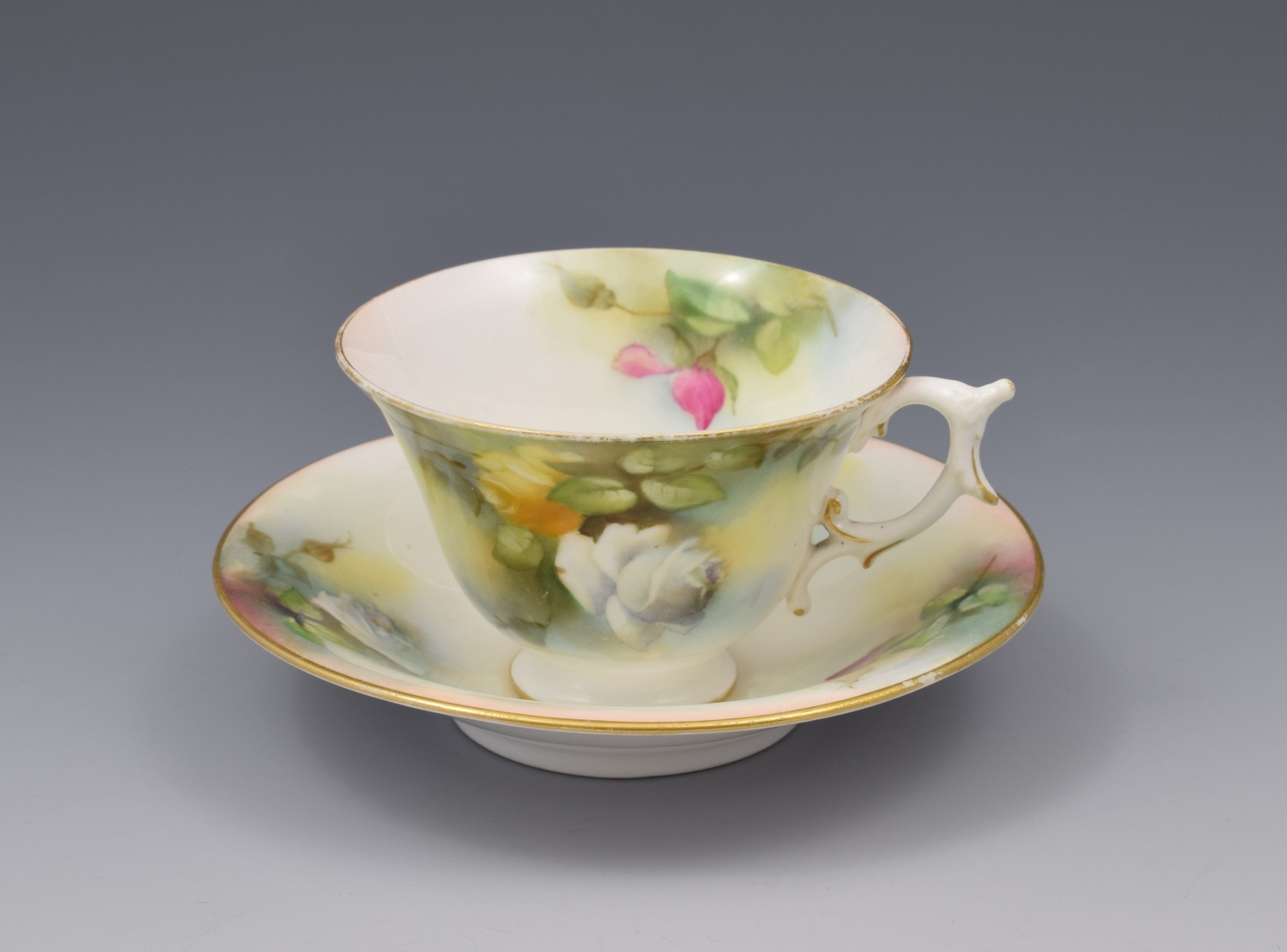 edwardian royal worcester cup saucer hadley roses 1909