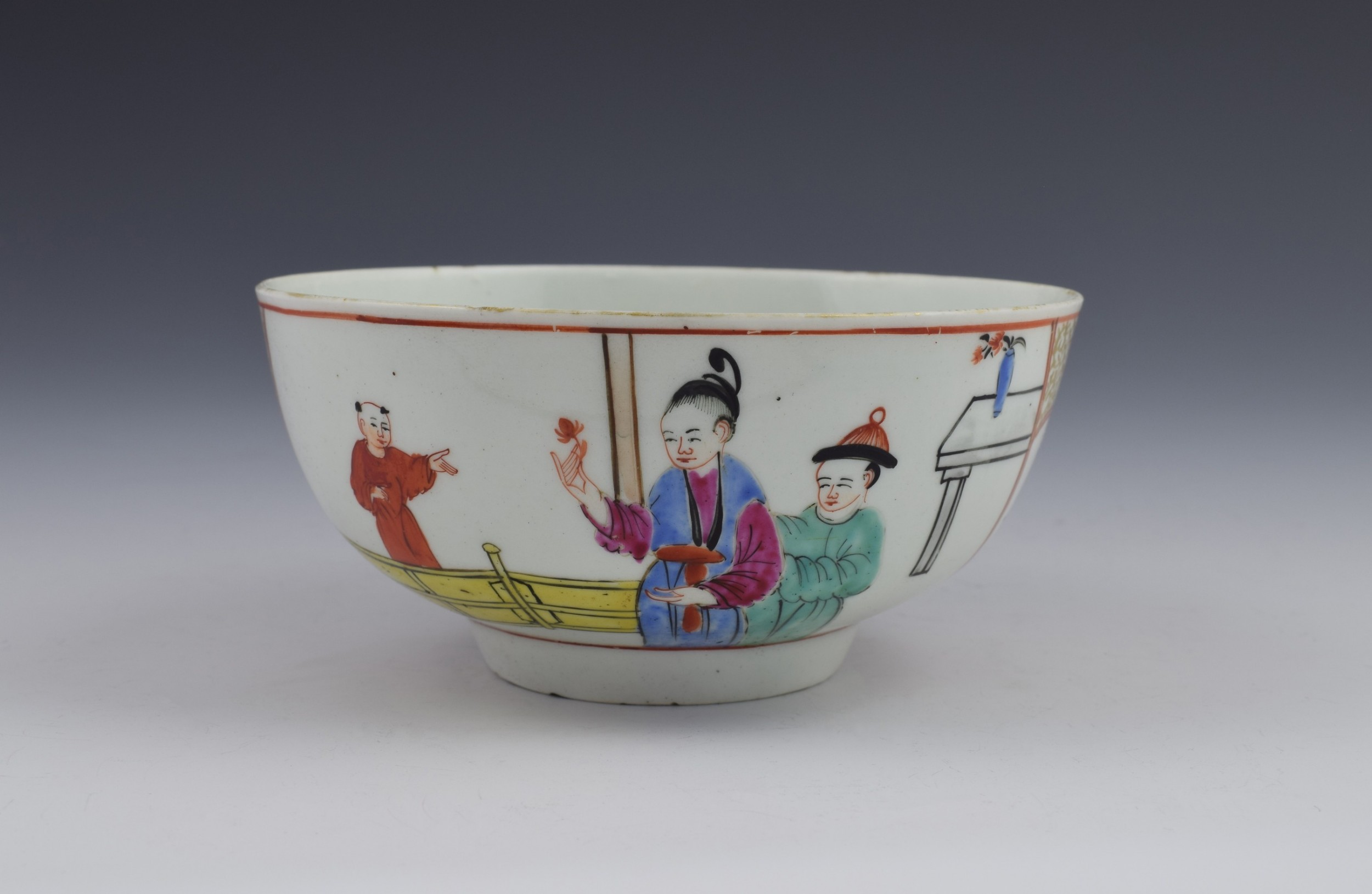first period worcester chinese figures slop bowl gentlemen's mandarin