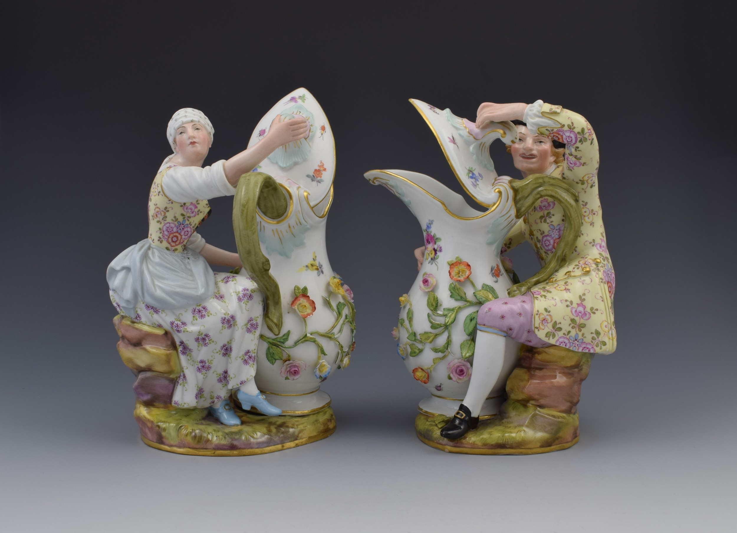 pair of 19thc meissen porcelain figural ewers