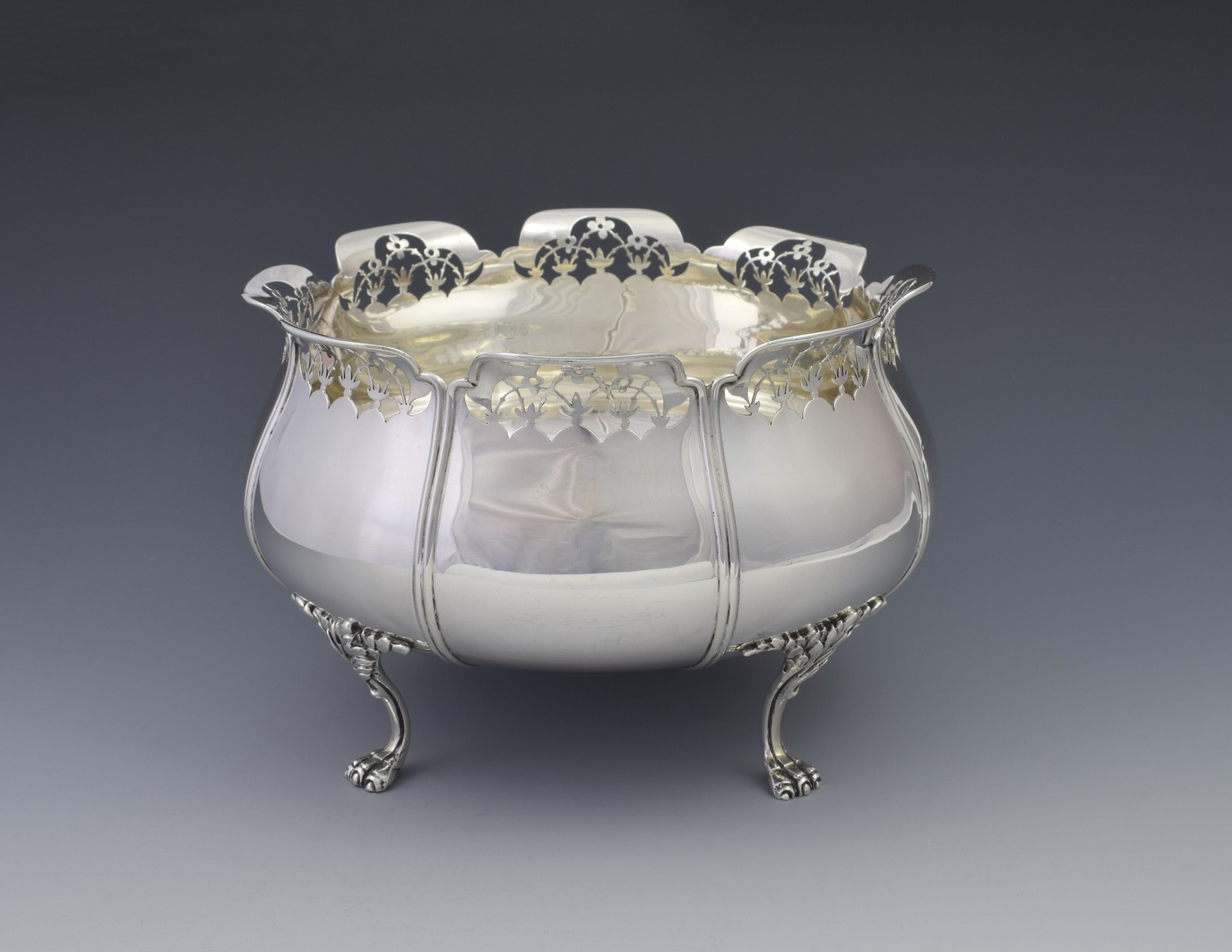 art nouveau silver lion paw footed bowl mappin webb 1911