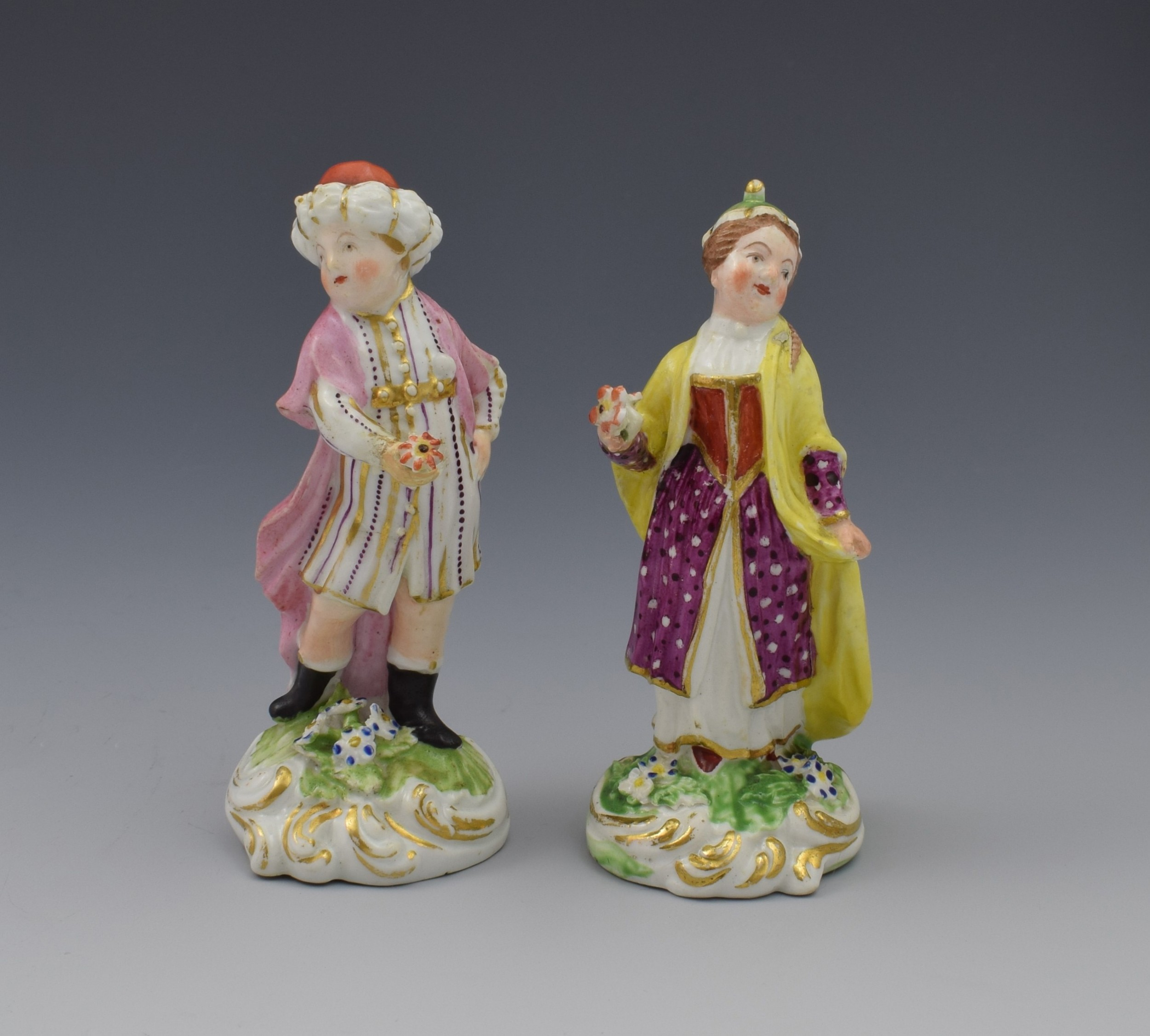 Pair 5th Century Derby Porcelain Figures Small Turks  5