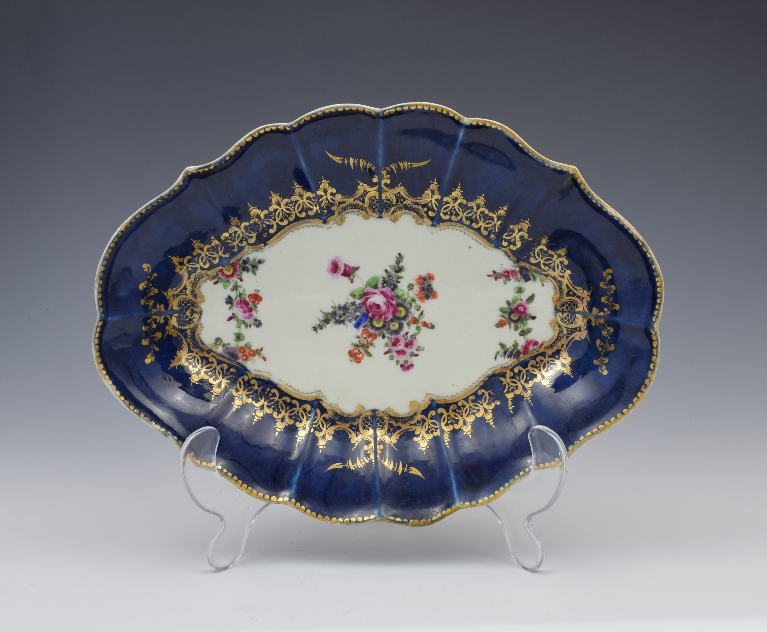 first period worcester wet blue lozenge dish floral c1775