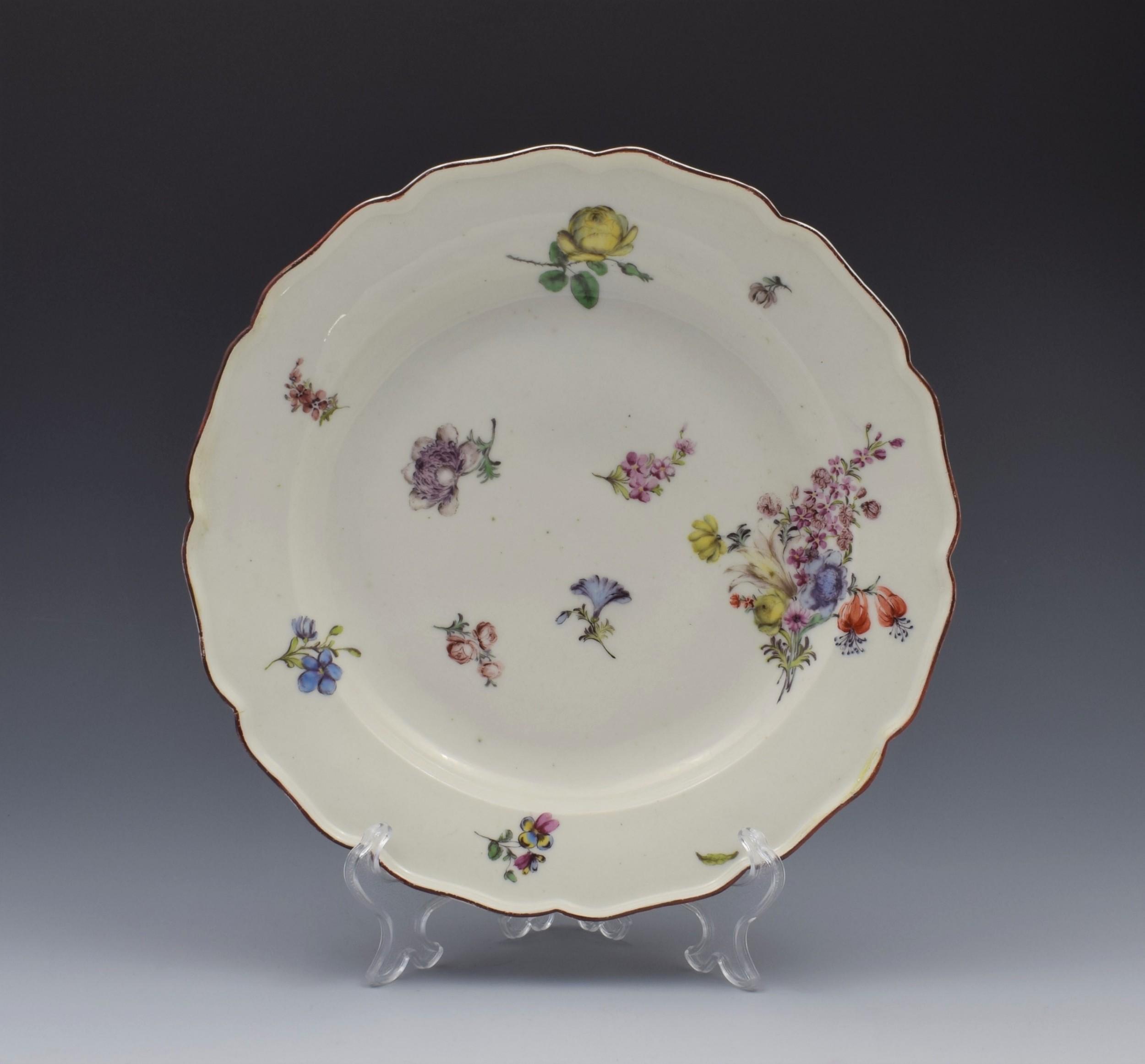 18th century chelsea porcelain floral dessert plate c1755