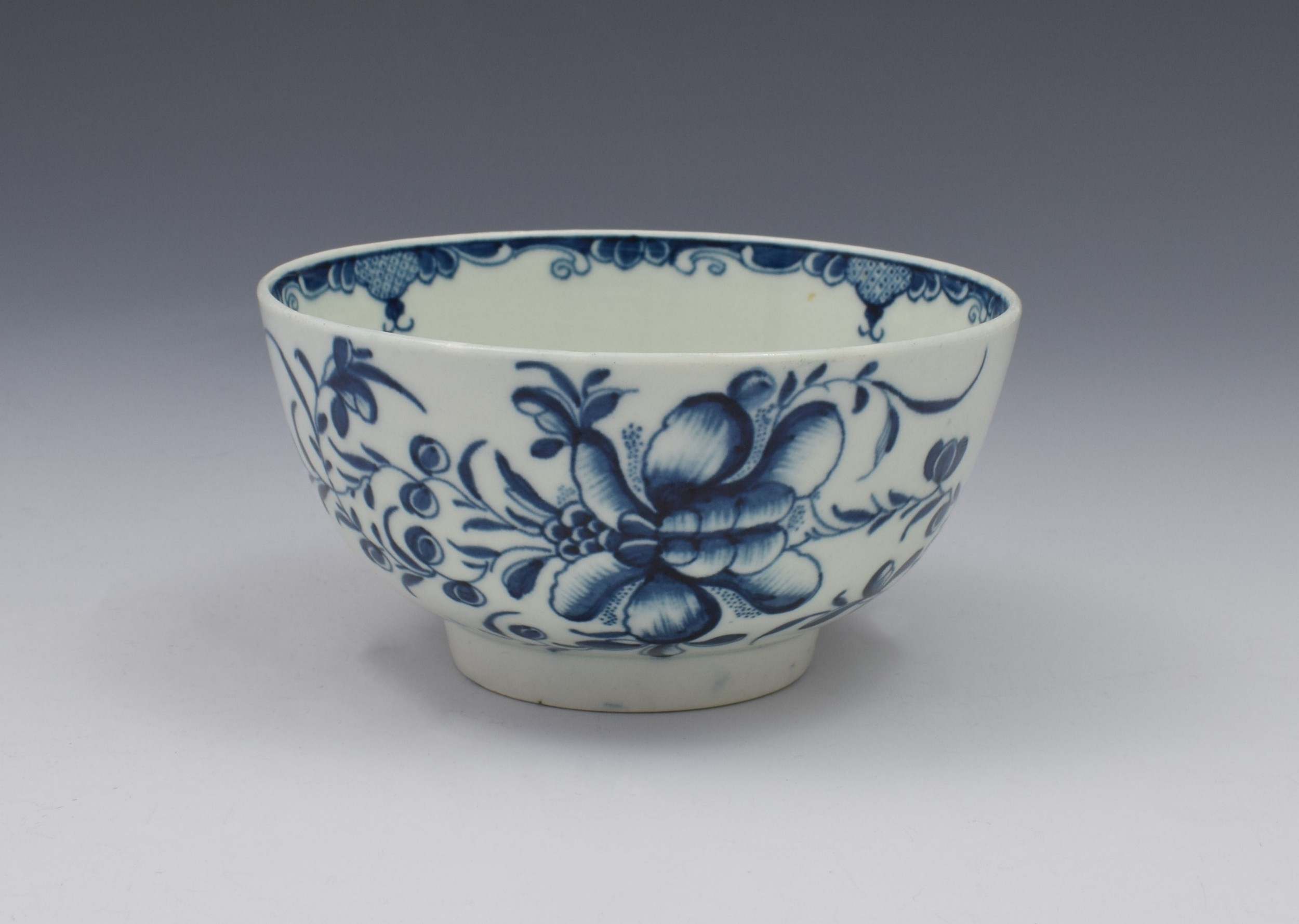 first period worcester mansfield pattern slop bowl c1775