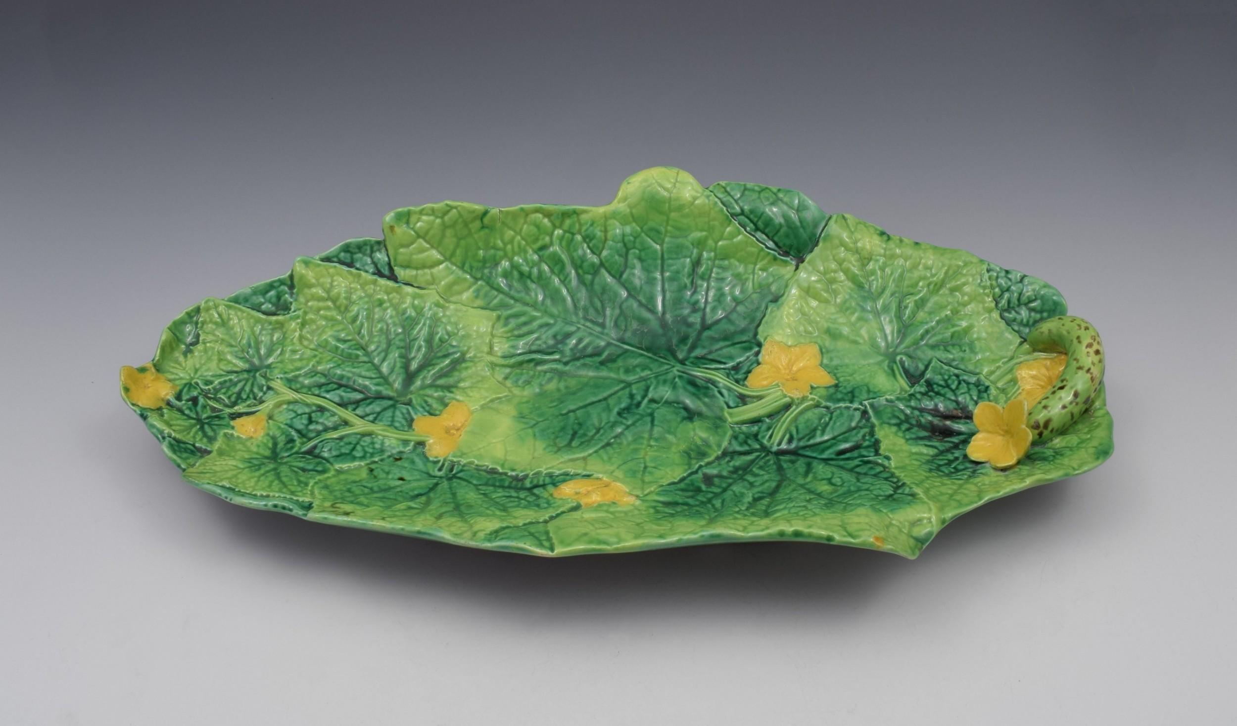 victorian george jones majolica cucumber serving tray dish model 2563