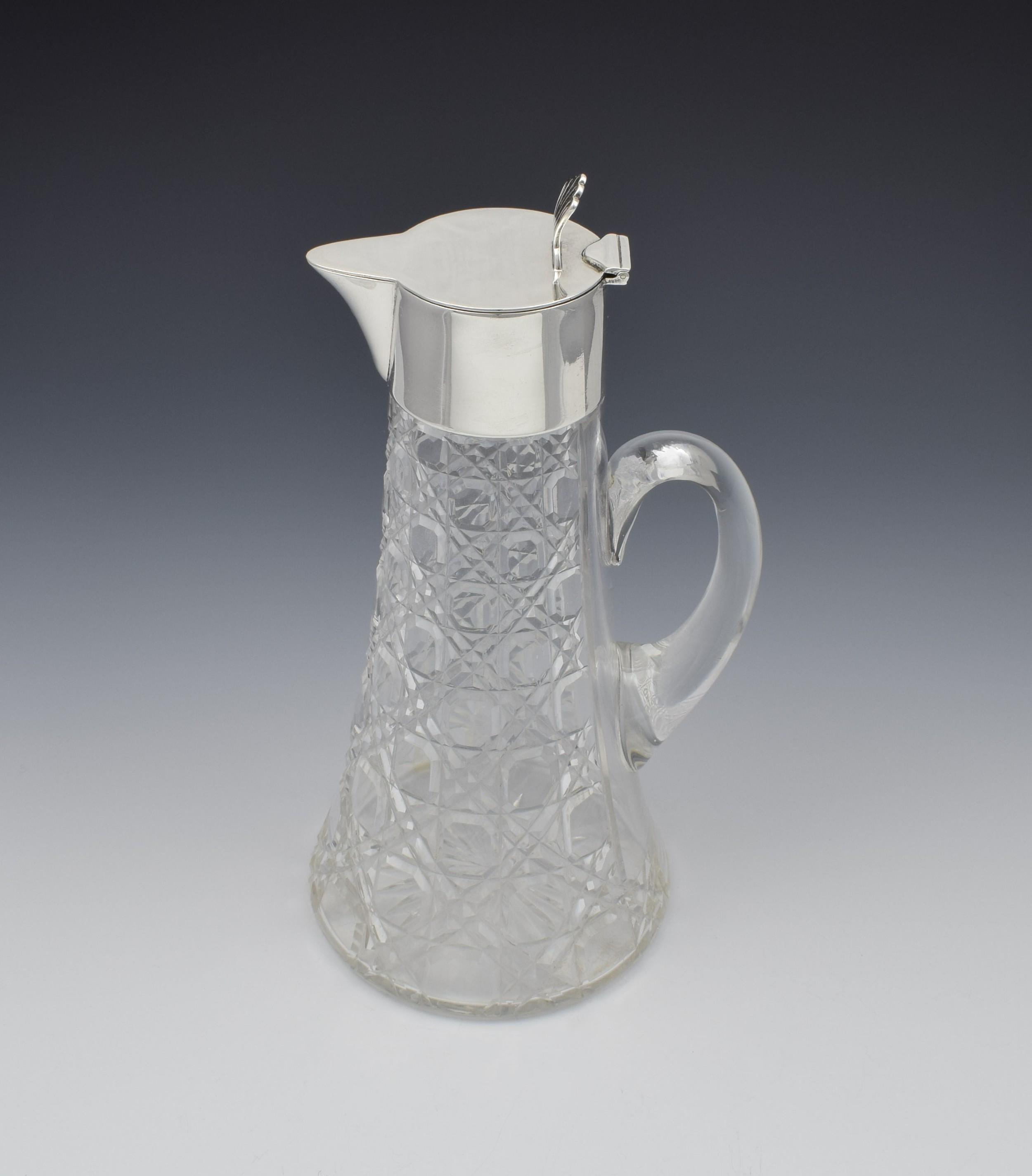 art deco silver cut glass claret jug