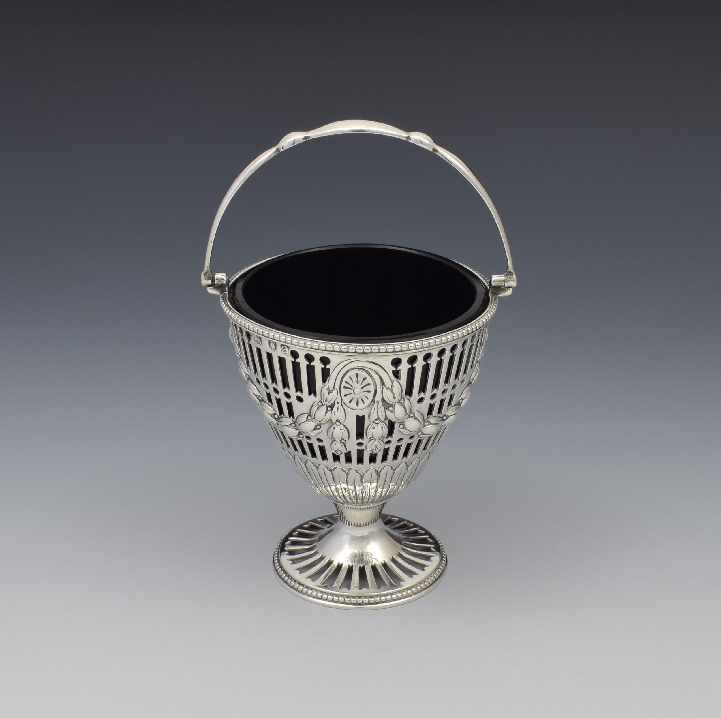 george iii pierced silver glass sugar basket georgian
