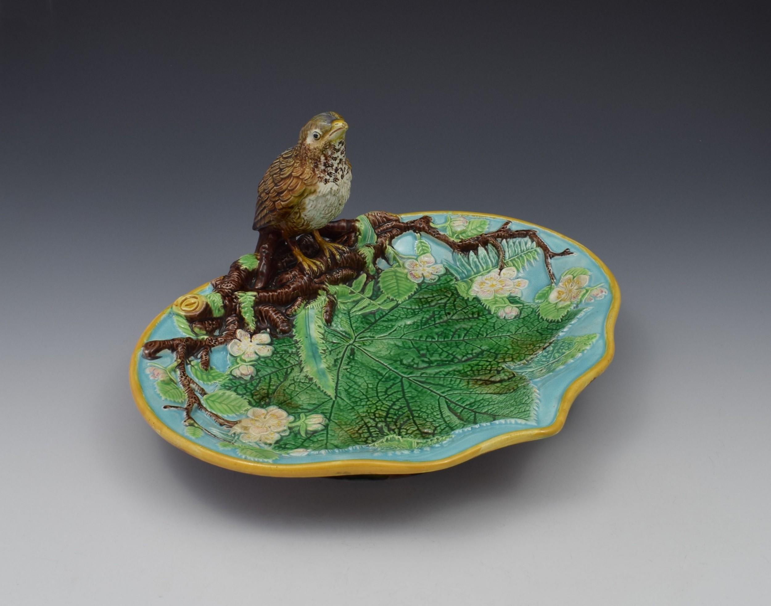 victorian george jones majolica thrush bird tray