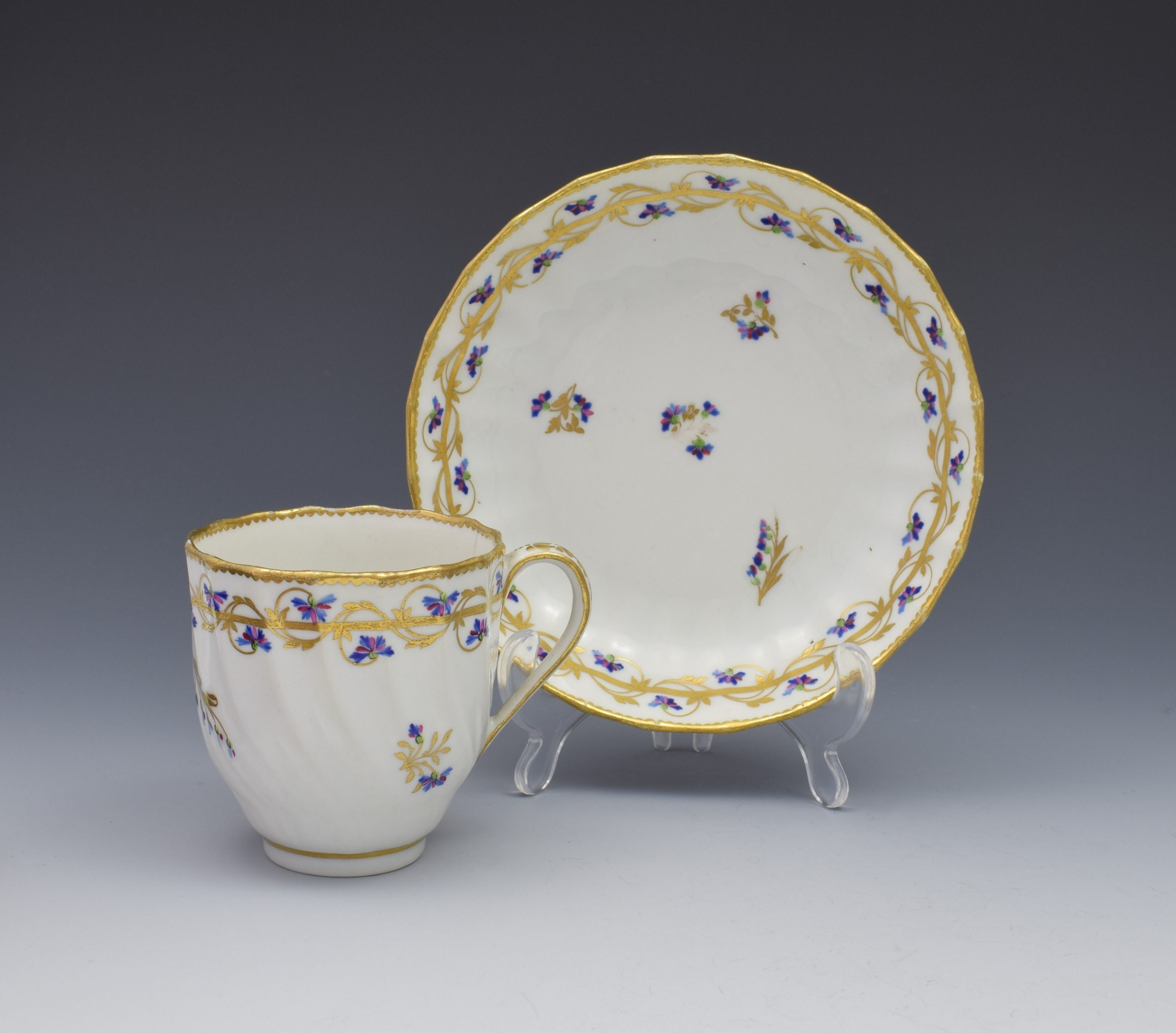 18th century derby porcelain cup saucer barbeaux sprigs c1785