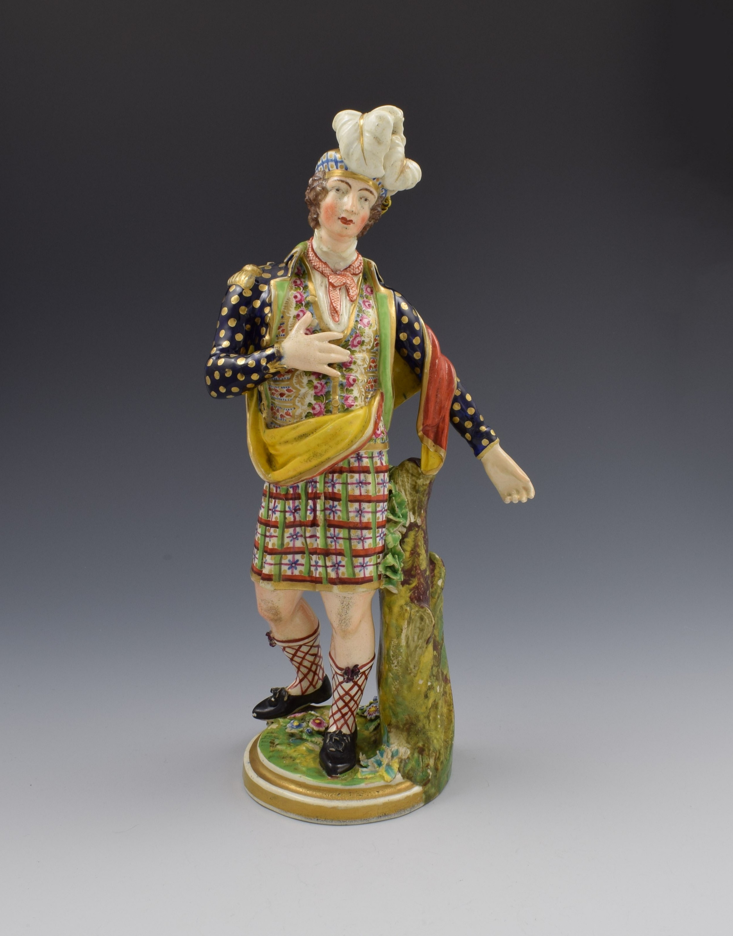 large derby porcelain figure of a scotsman no 378 by coffee c1820