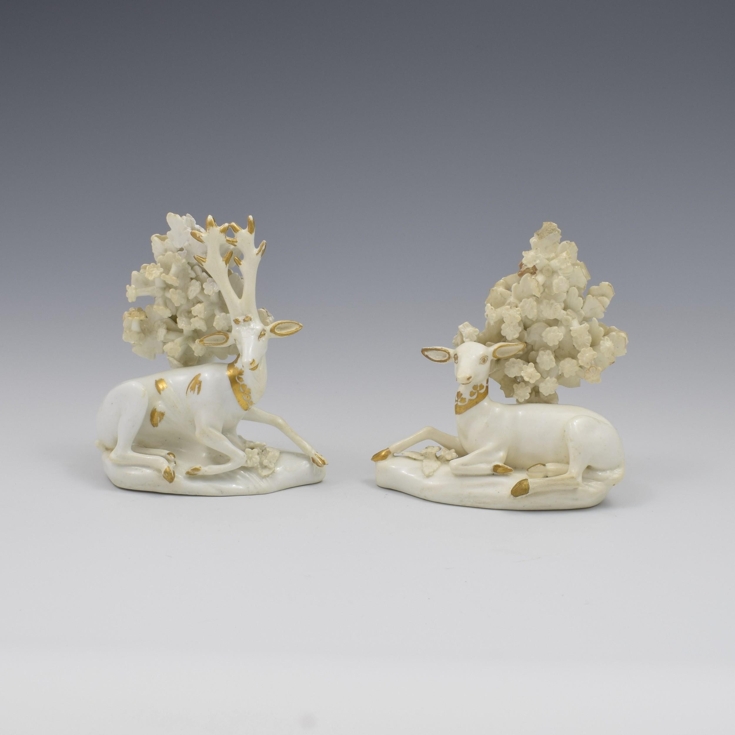 pair derby porcelain figures deer doe stag c1820