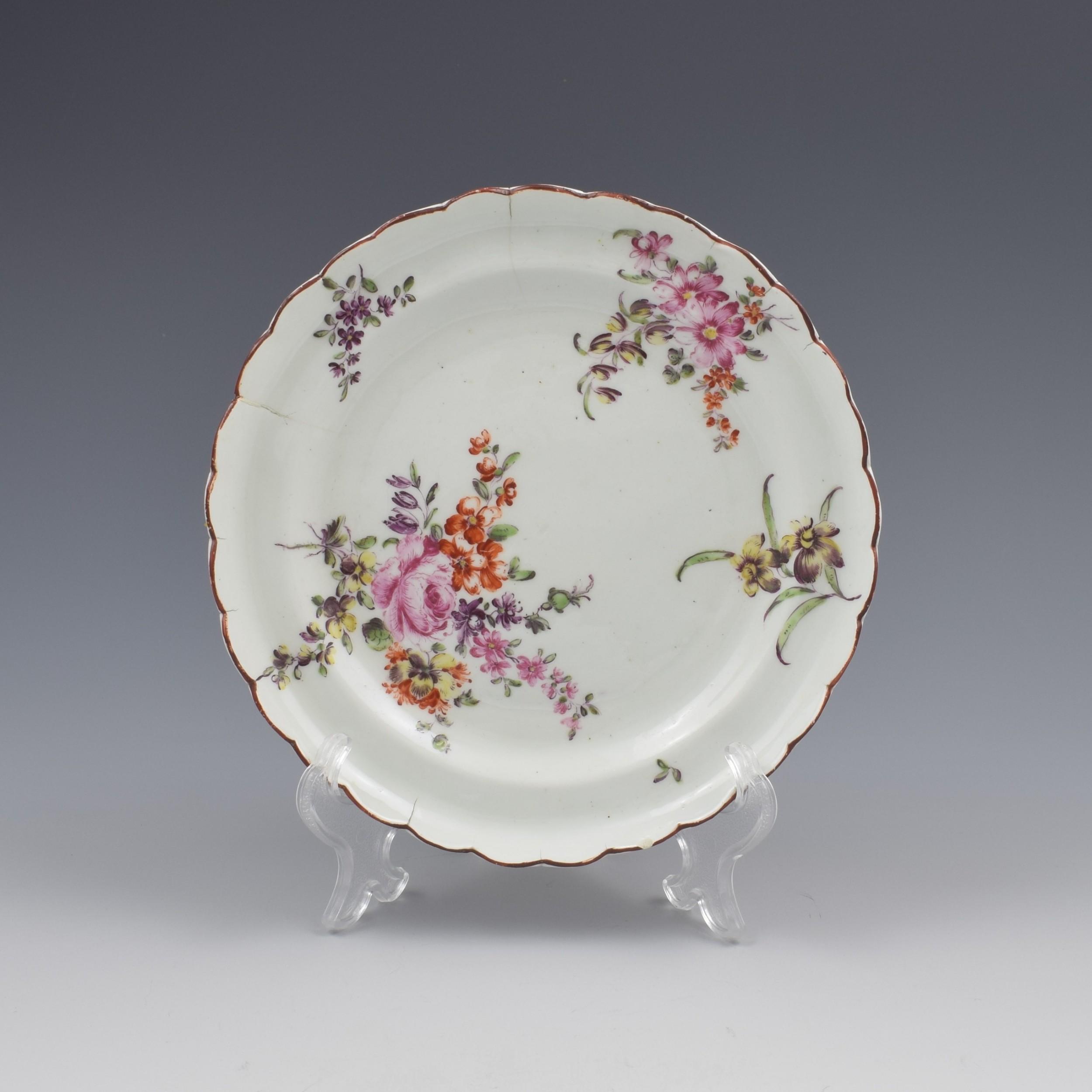 derby porcelain cotton stem floral small lobed plate c1760