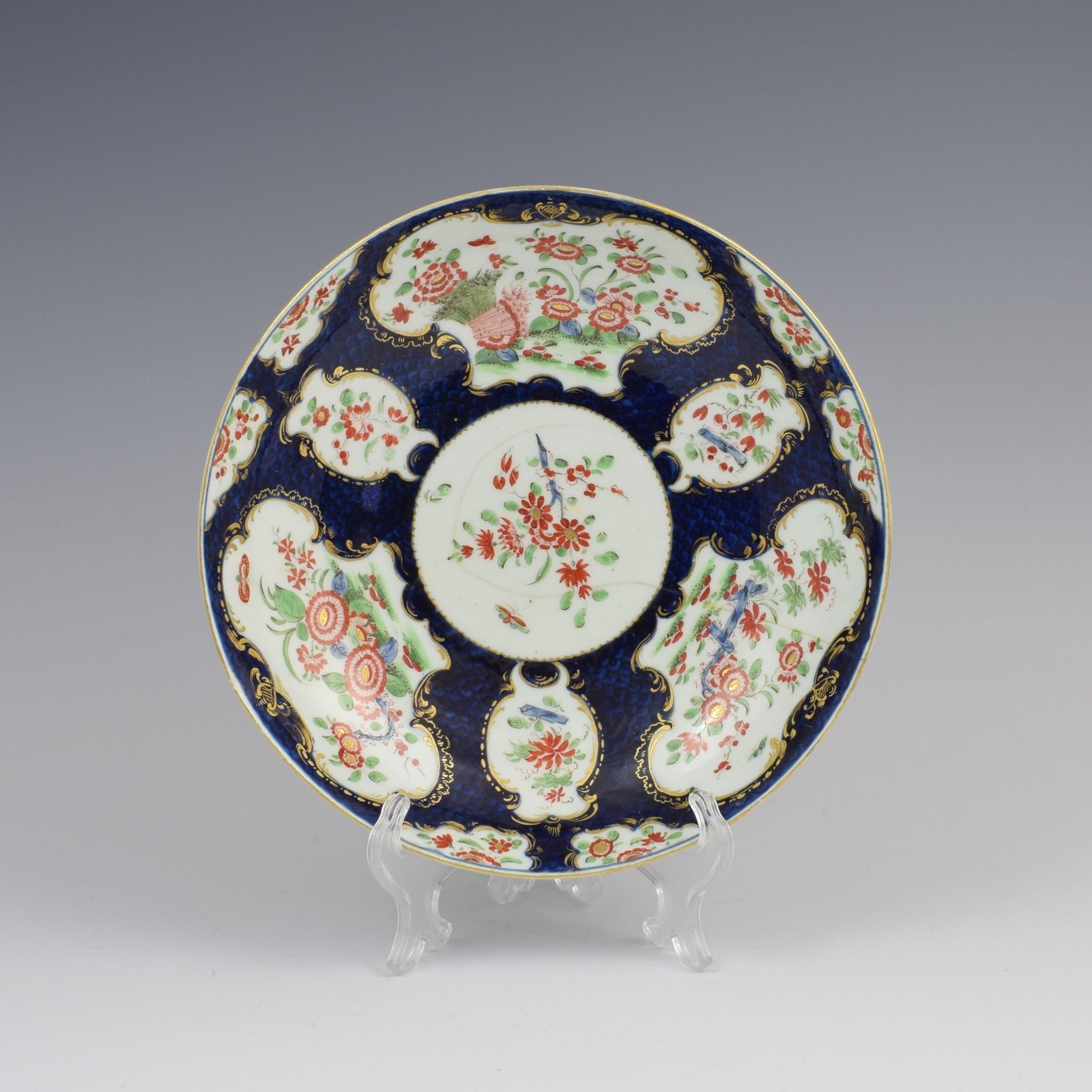 first period worcester porcelain blue scale kakiemon wheatsheaf dish c1770