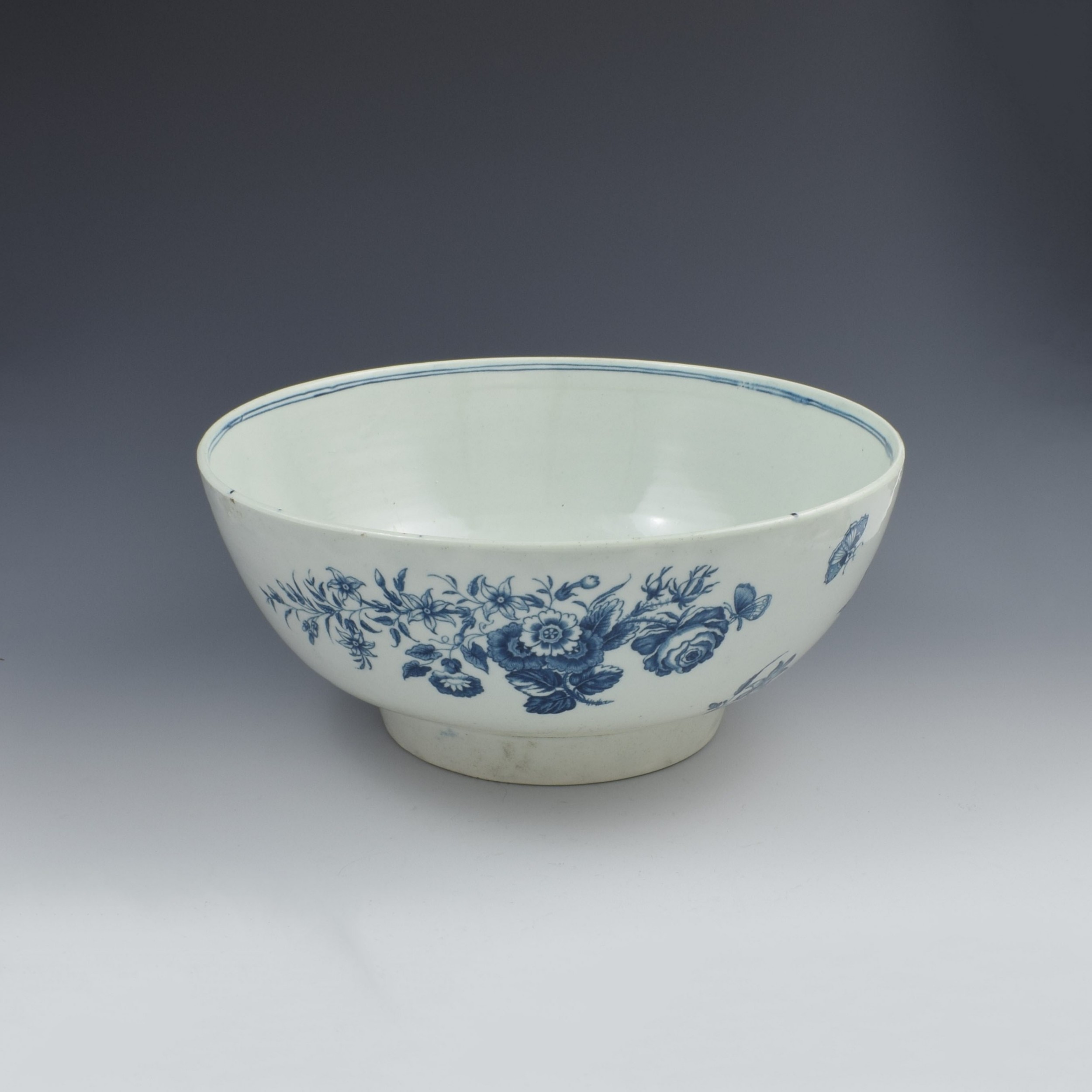 first period worcester large 11 porcelain punch bowl three flowers pattern c1770