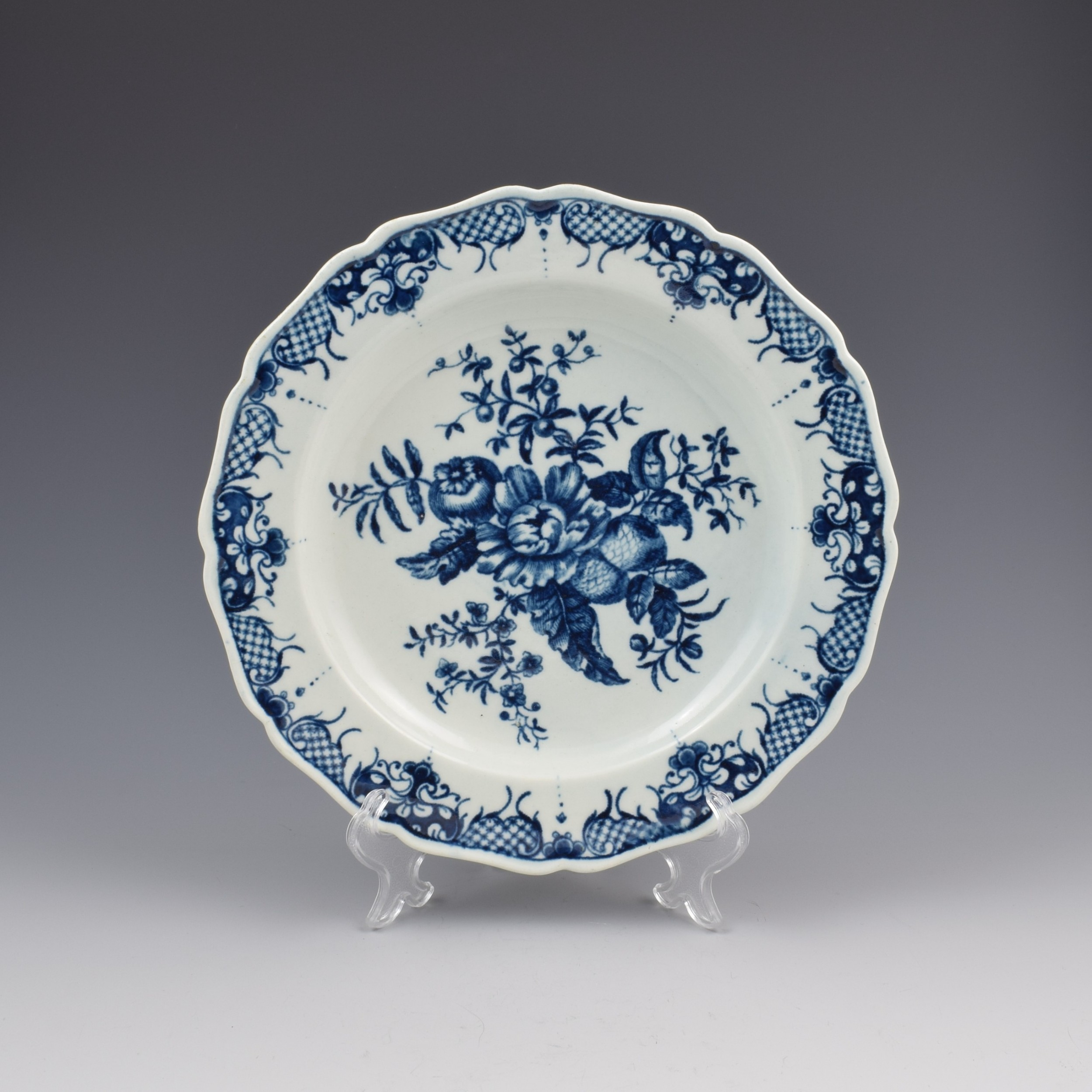 first period worcester porcelain pine cone pattern plate