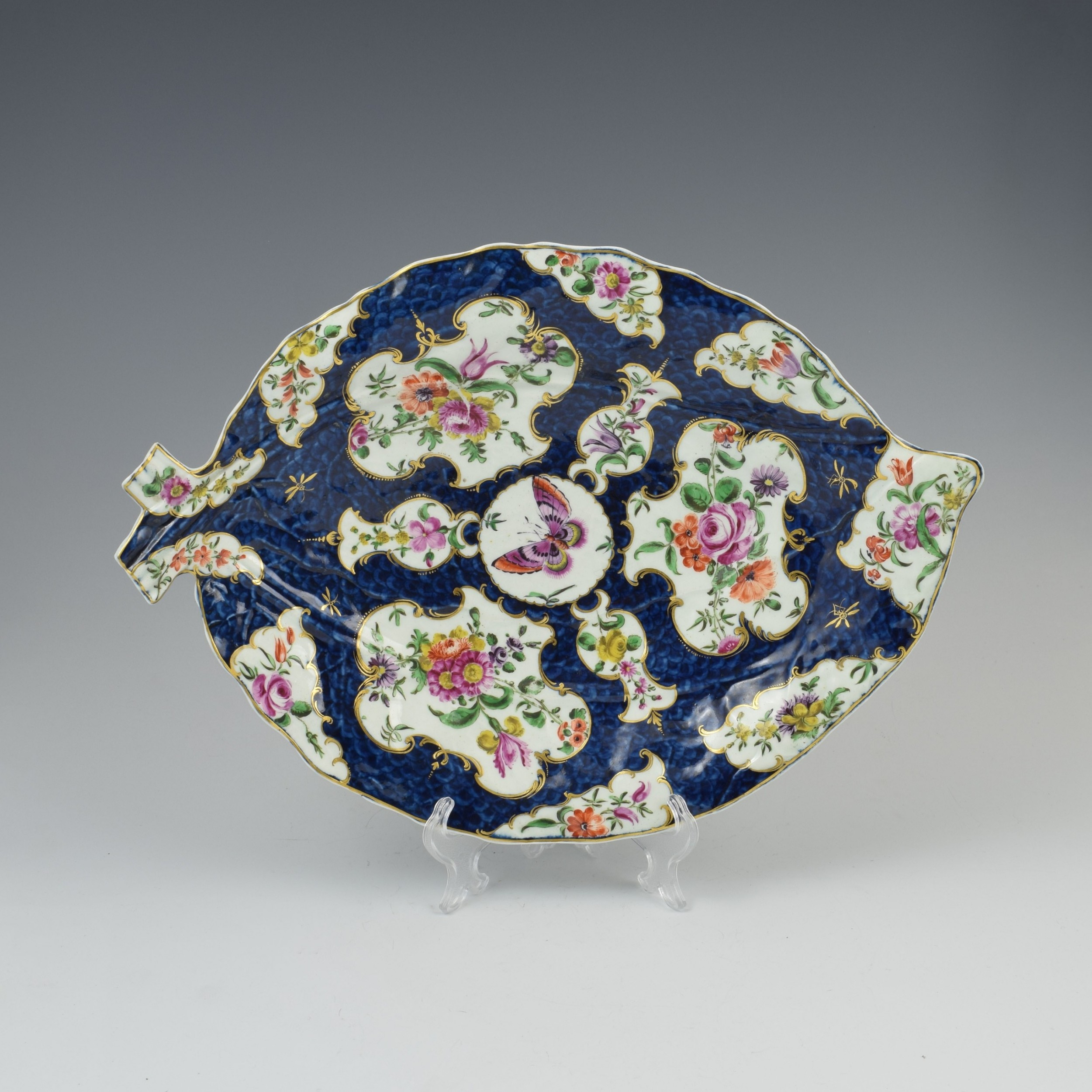 first period worcester porcelain large blue scale leaf dish c1770
