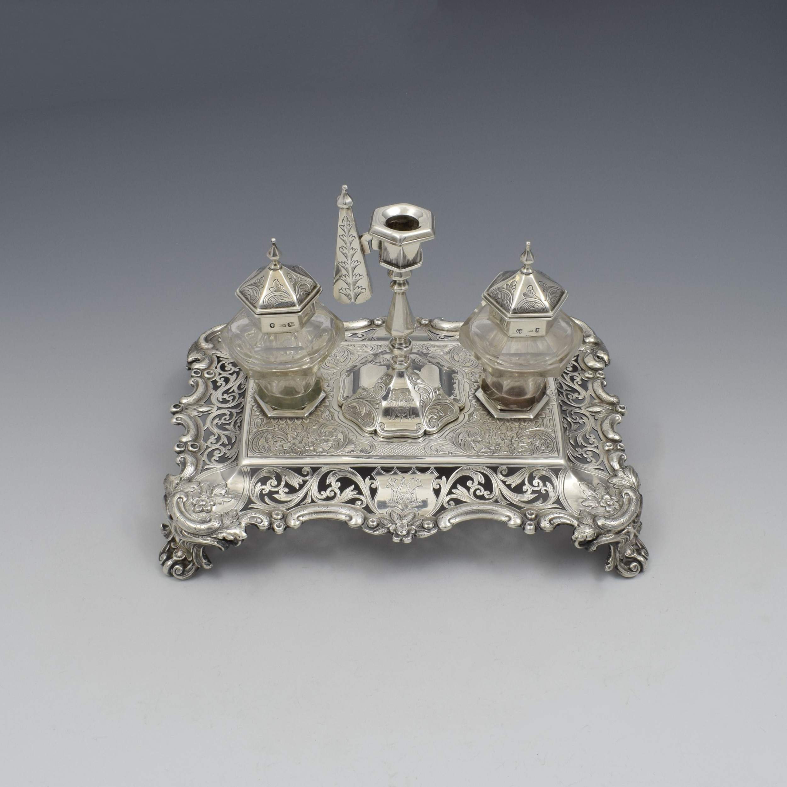 antique victorian silver double inkstand with taperstick stamp box