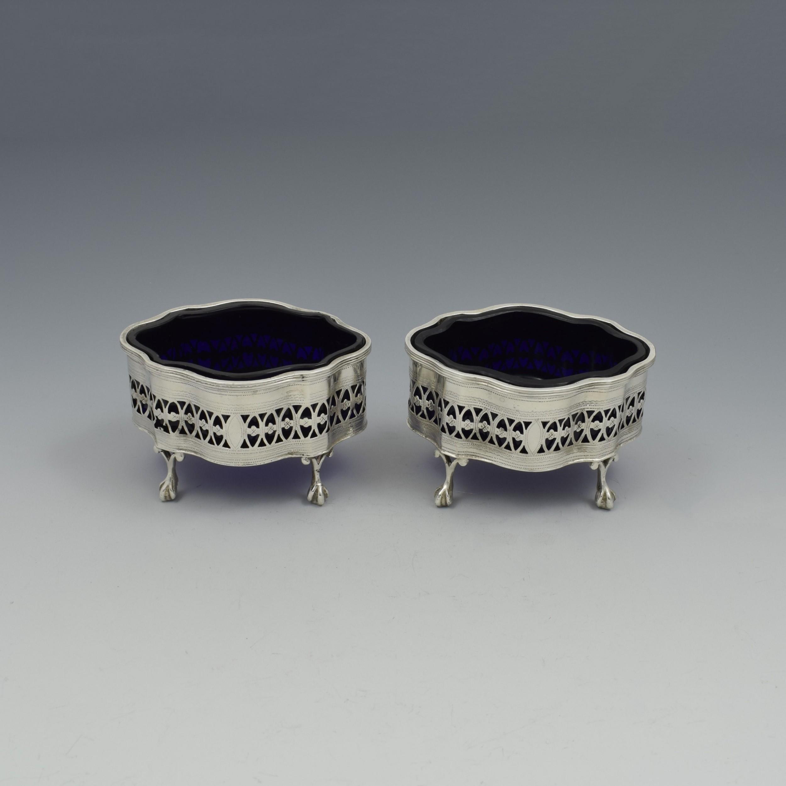 pretty pair victorian pierced neoclassical salts chester 1900