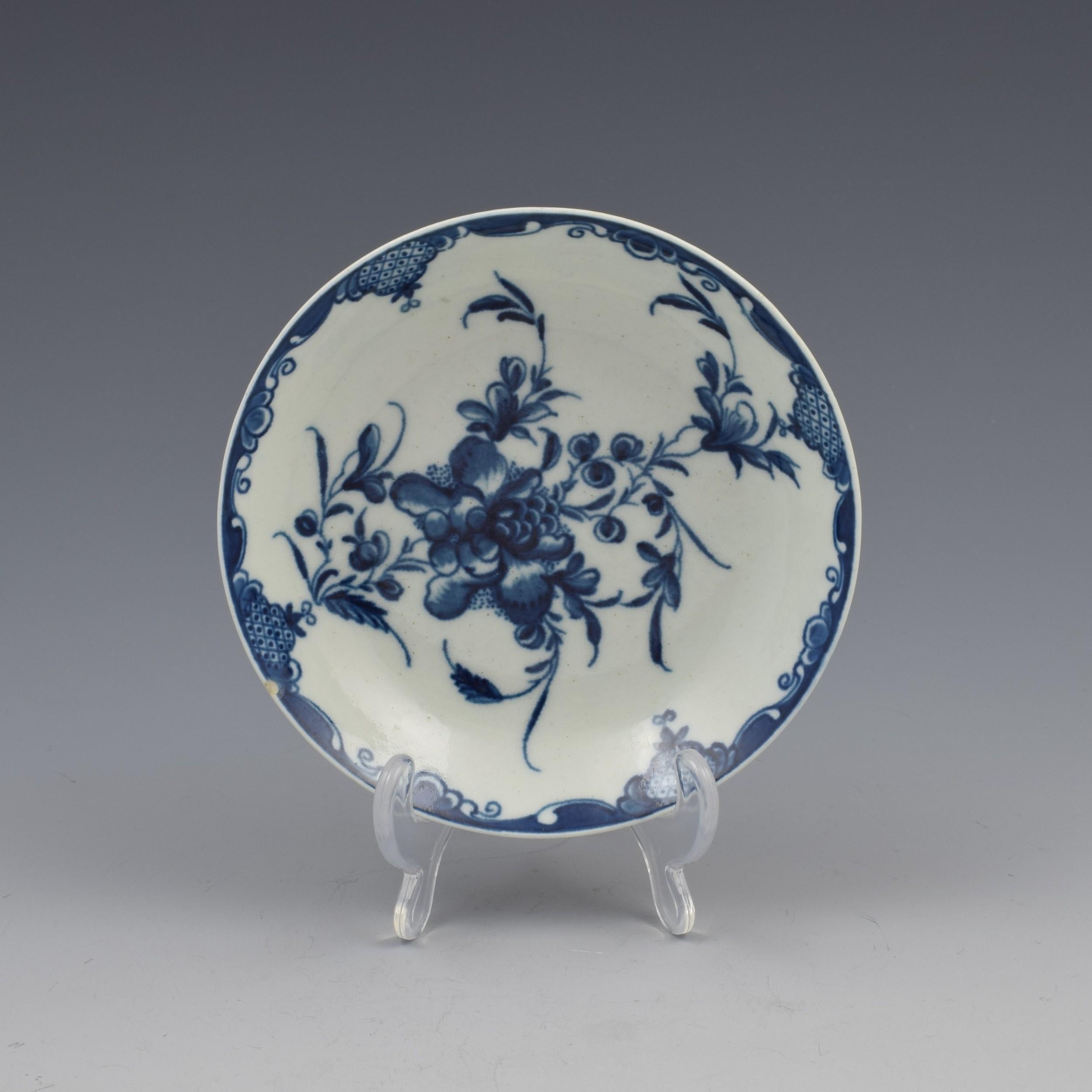 first period worcester porcelain mansfield pattern saucer c1770
