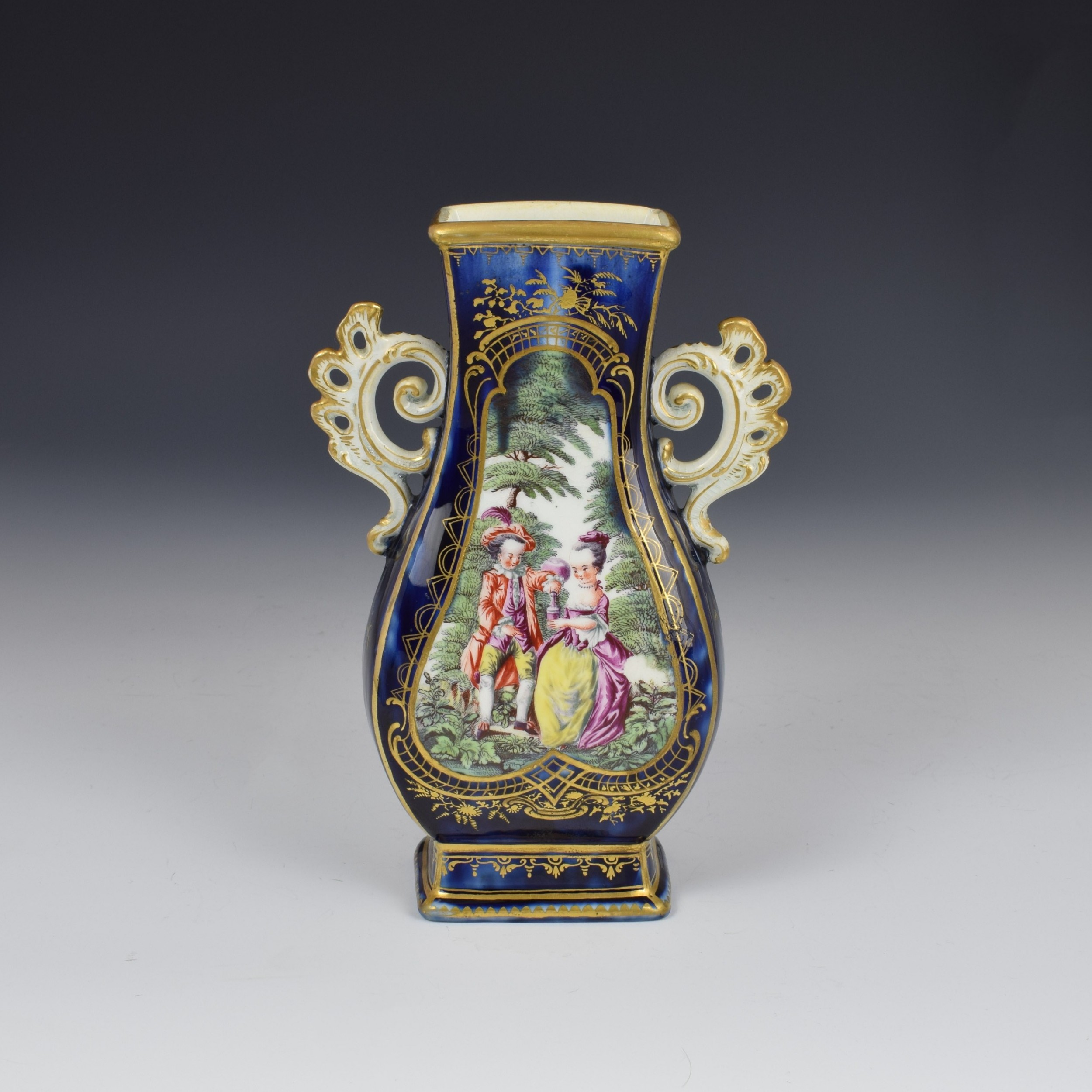 chelsea porcelain gold anchor period blue ground vase c1765
