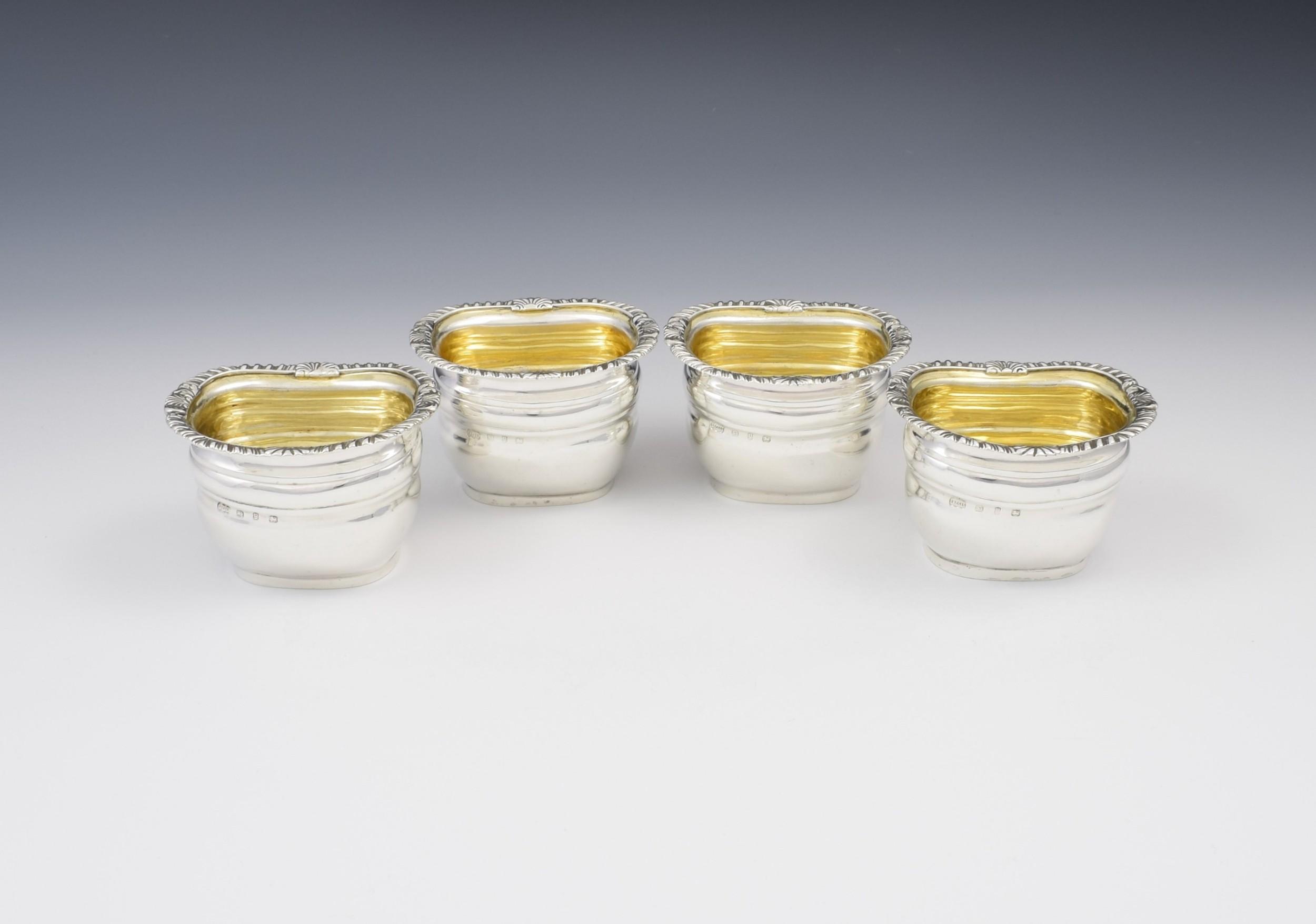 set of 4 victorian silver bombe table salts elkington co 1898