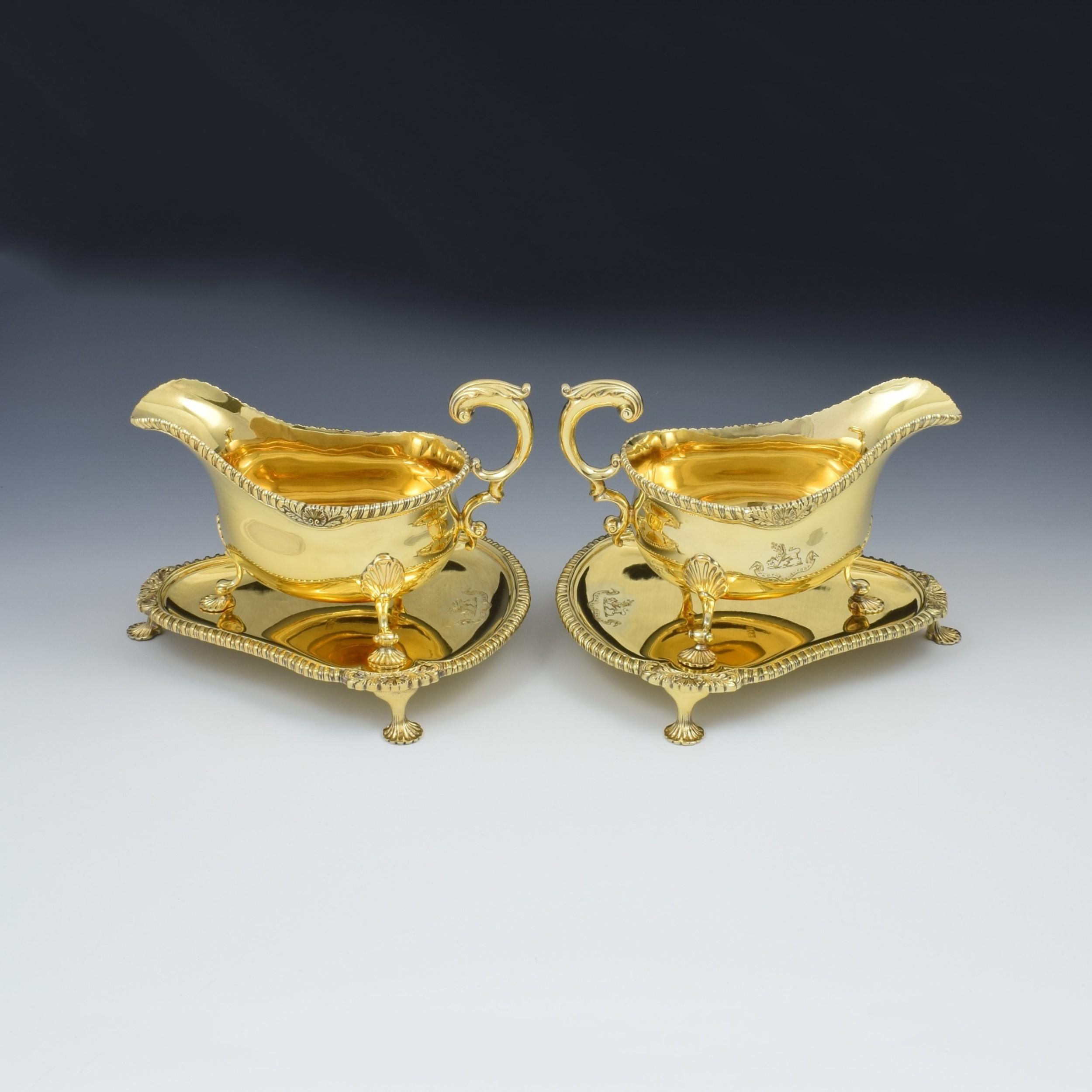 fine pair of edwardian silver gilt sauce boats