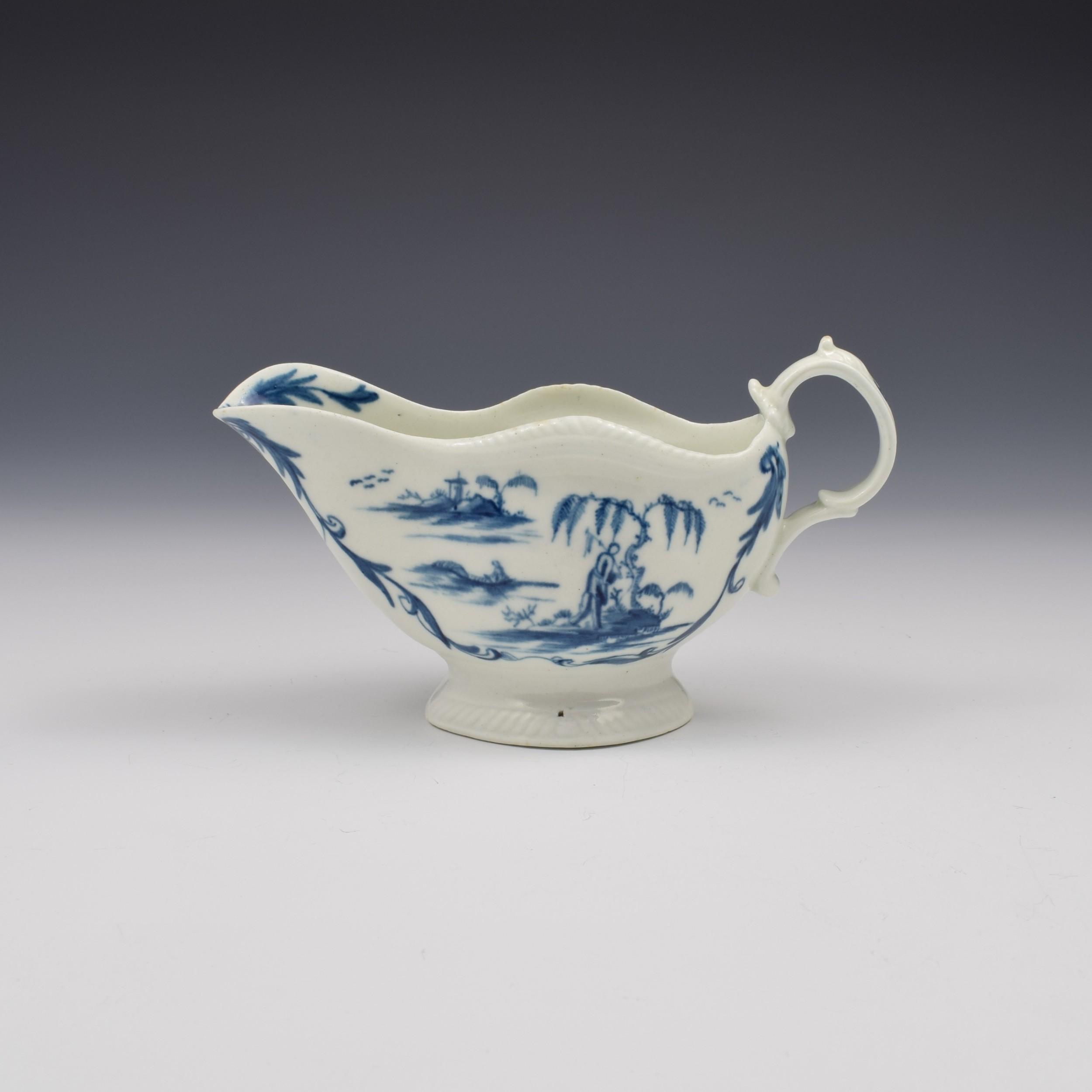 rare first period worcester porcelain one porter landscape pattern sauce boat c1765