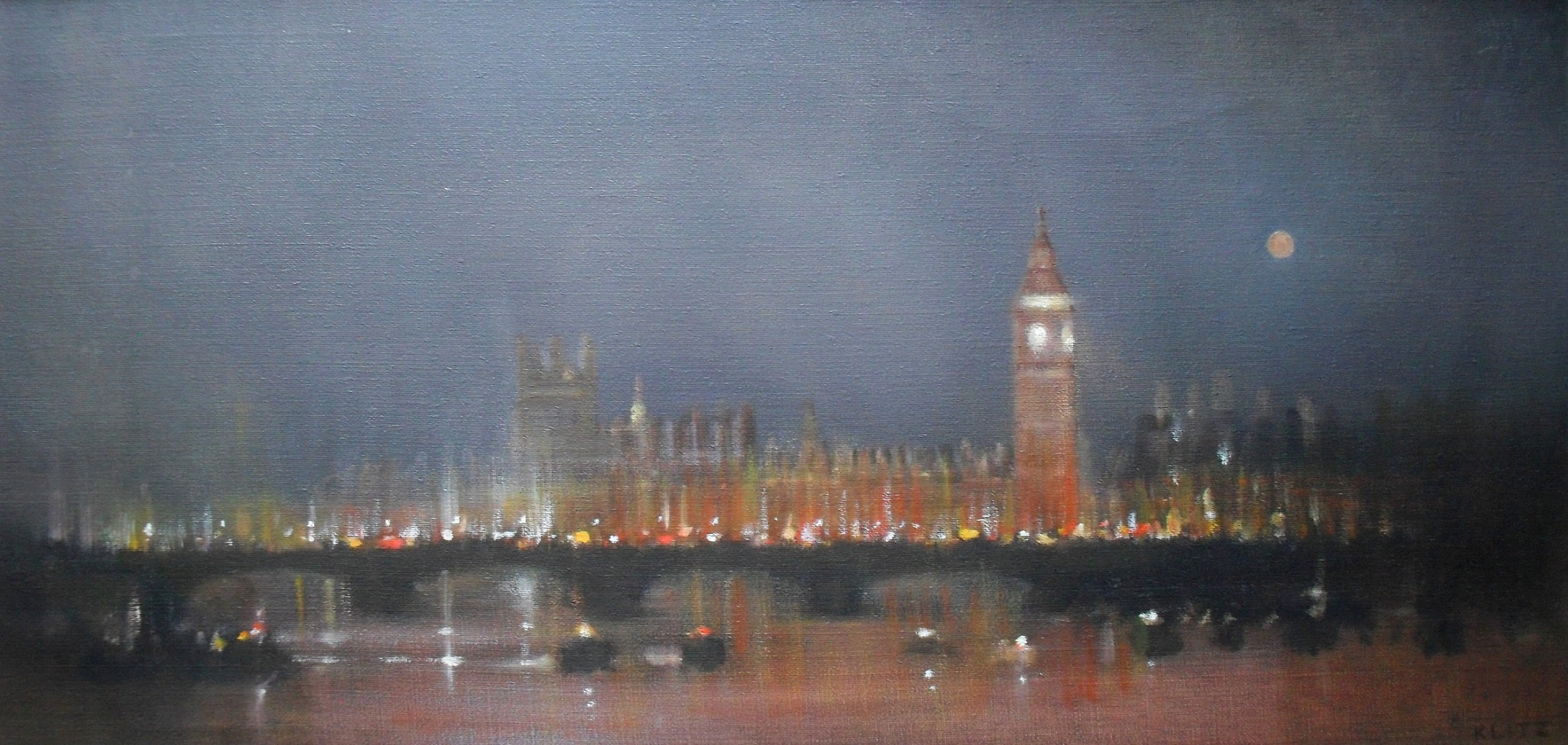 anthony robert klitz 1917 2000 westminster at dusk oil painting