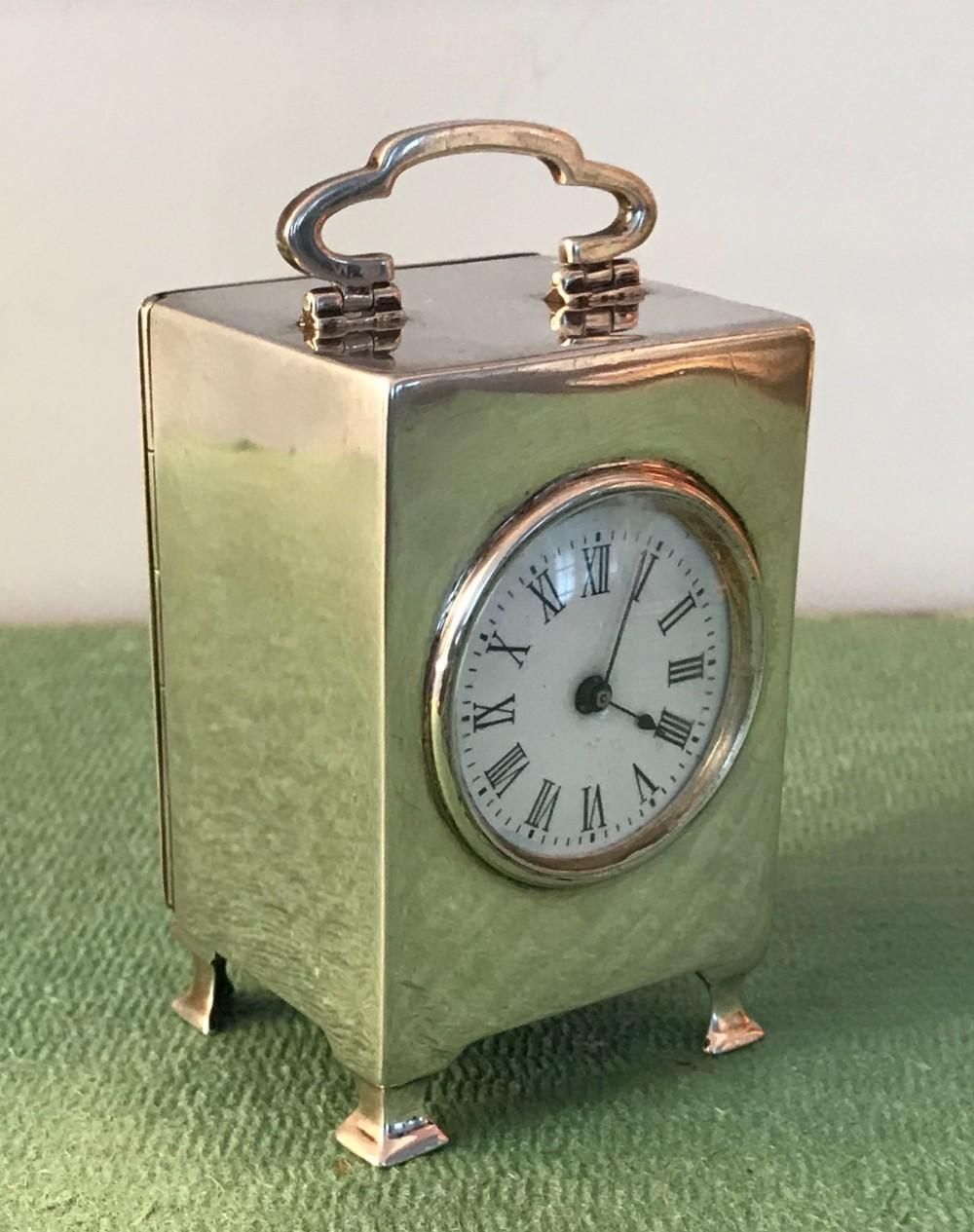 solid silver hallmarked miniature carriage clock circa 1910