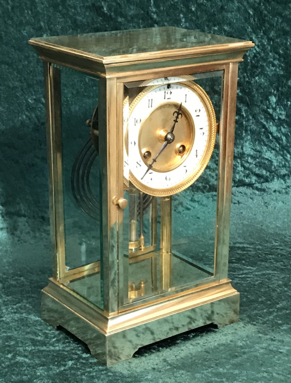 victorian library mantel four glass clock antique clock with mercurial pendulums circa 1900
