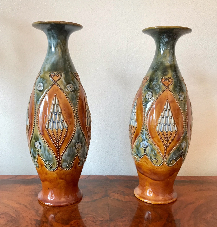 pair of doulton stoneware vases