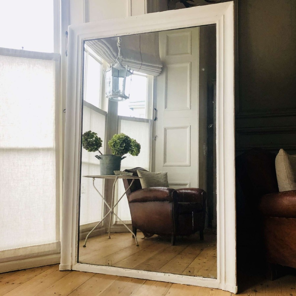 large french 19th century painted leaner mirror mercury glass