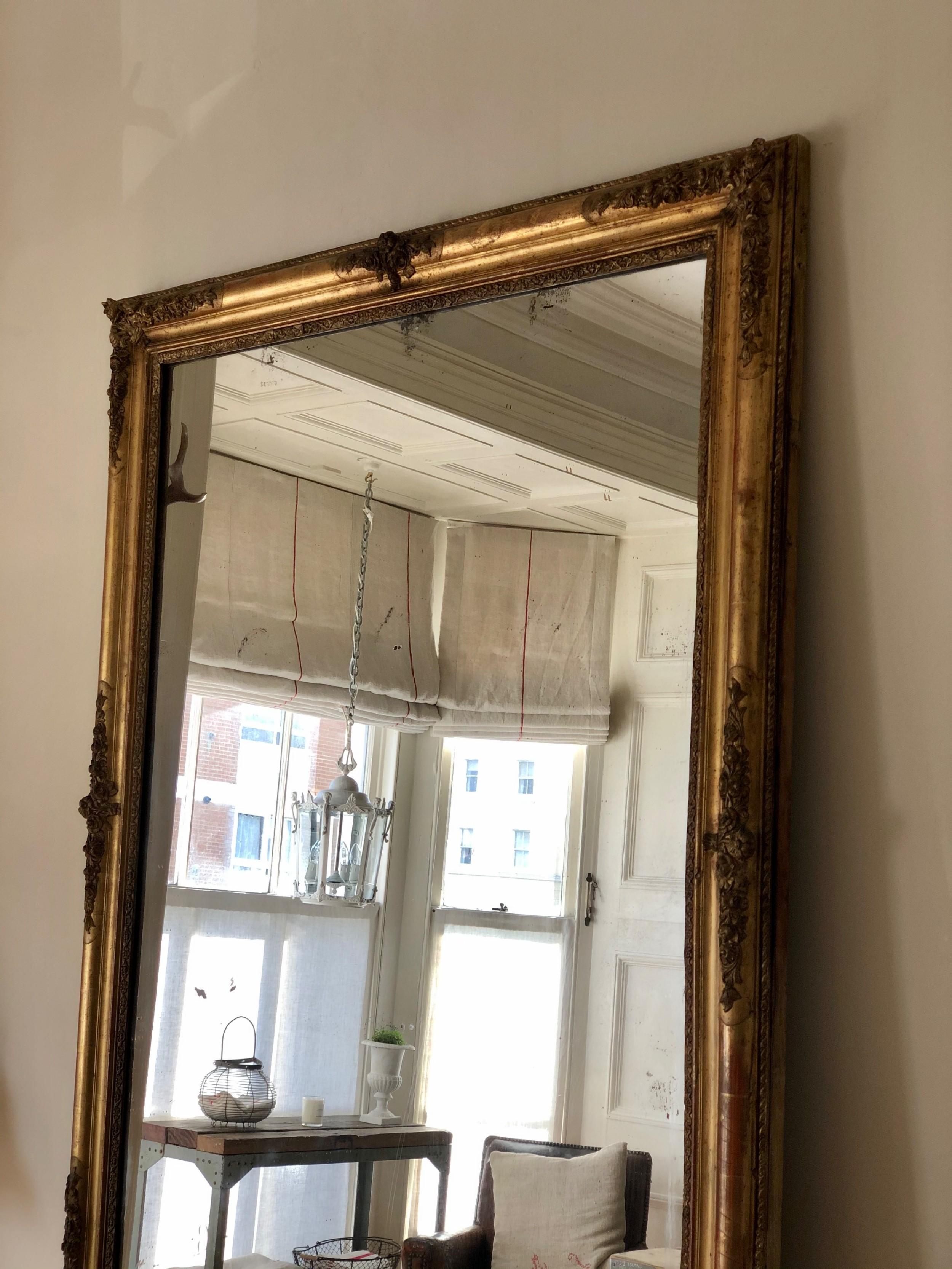 huge 19th century french gilt rectangular mirror mercury glass