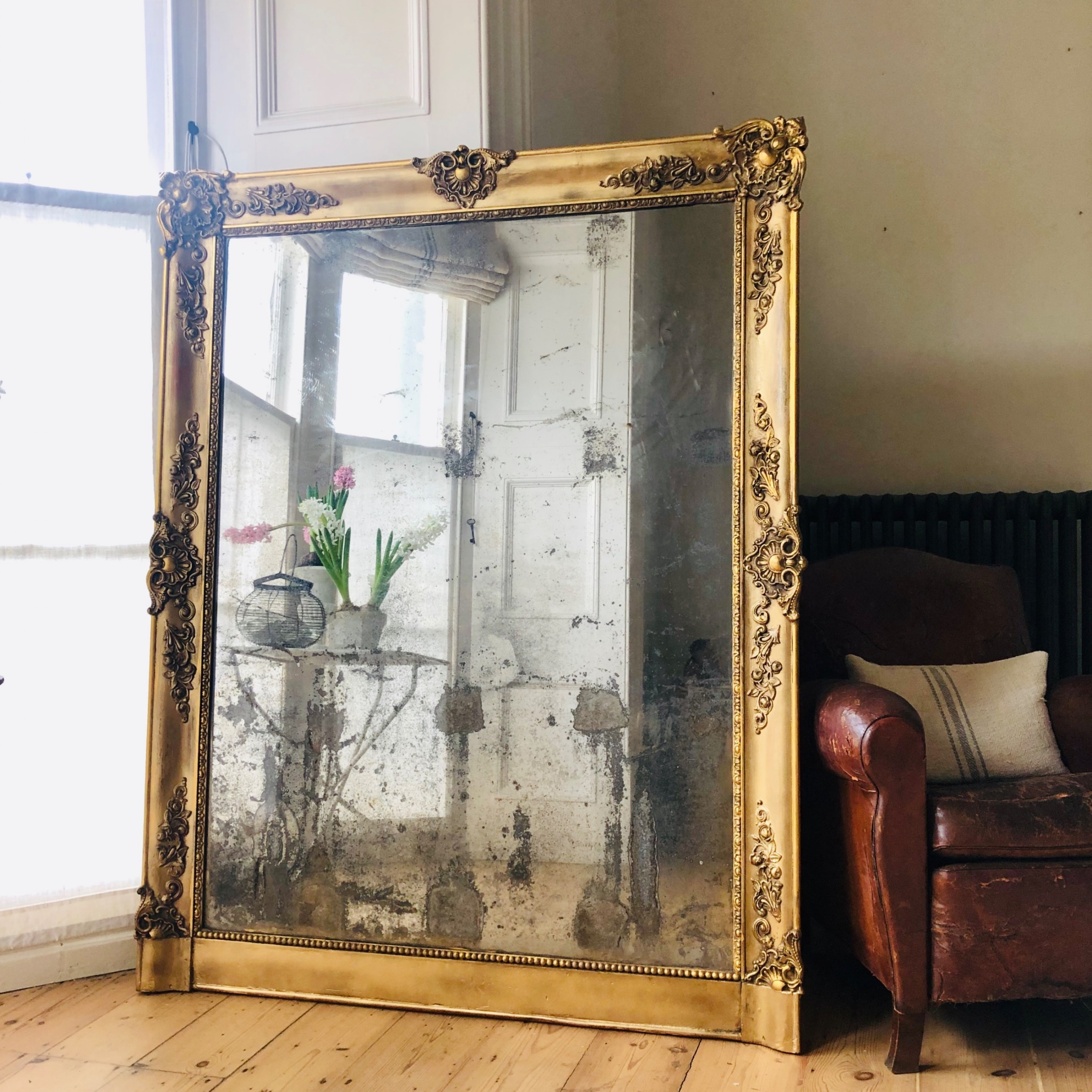 french antique gilt mirror foxed distressed mercury glass