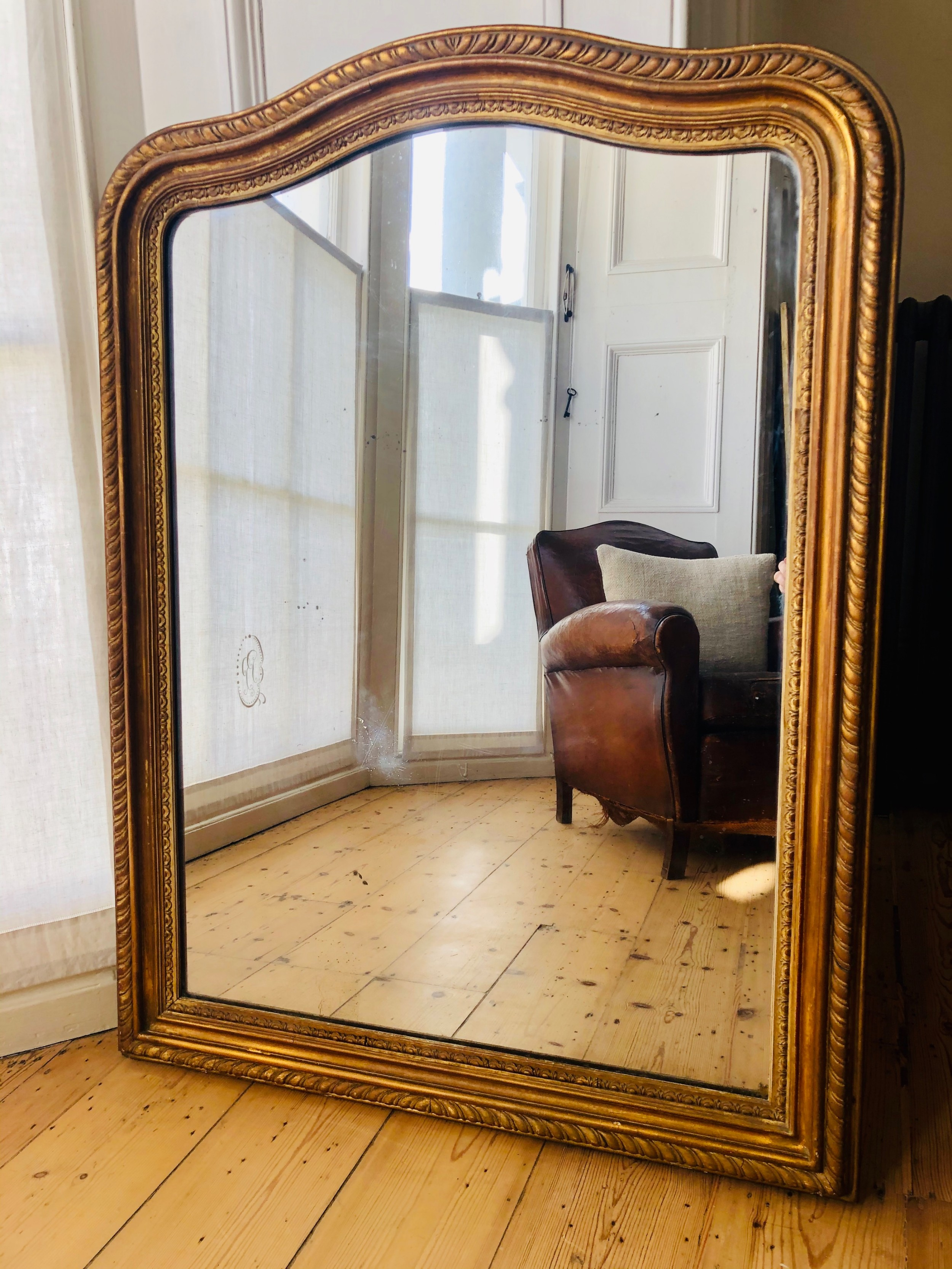 antique french louis philippe gilt mirror c1860 mercury glass