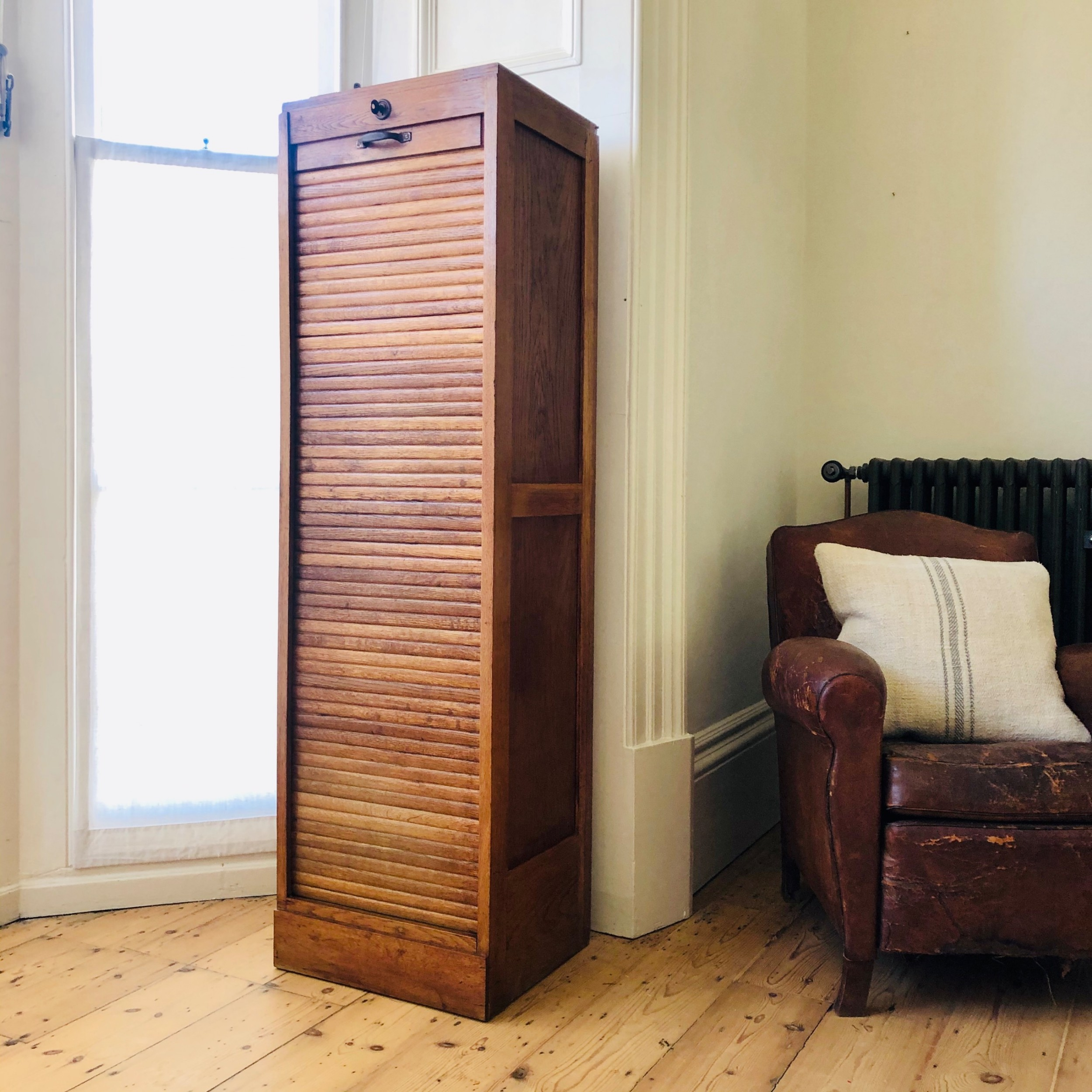 french antique oak tambour front filing cabinet