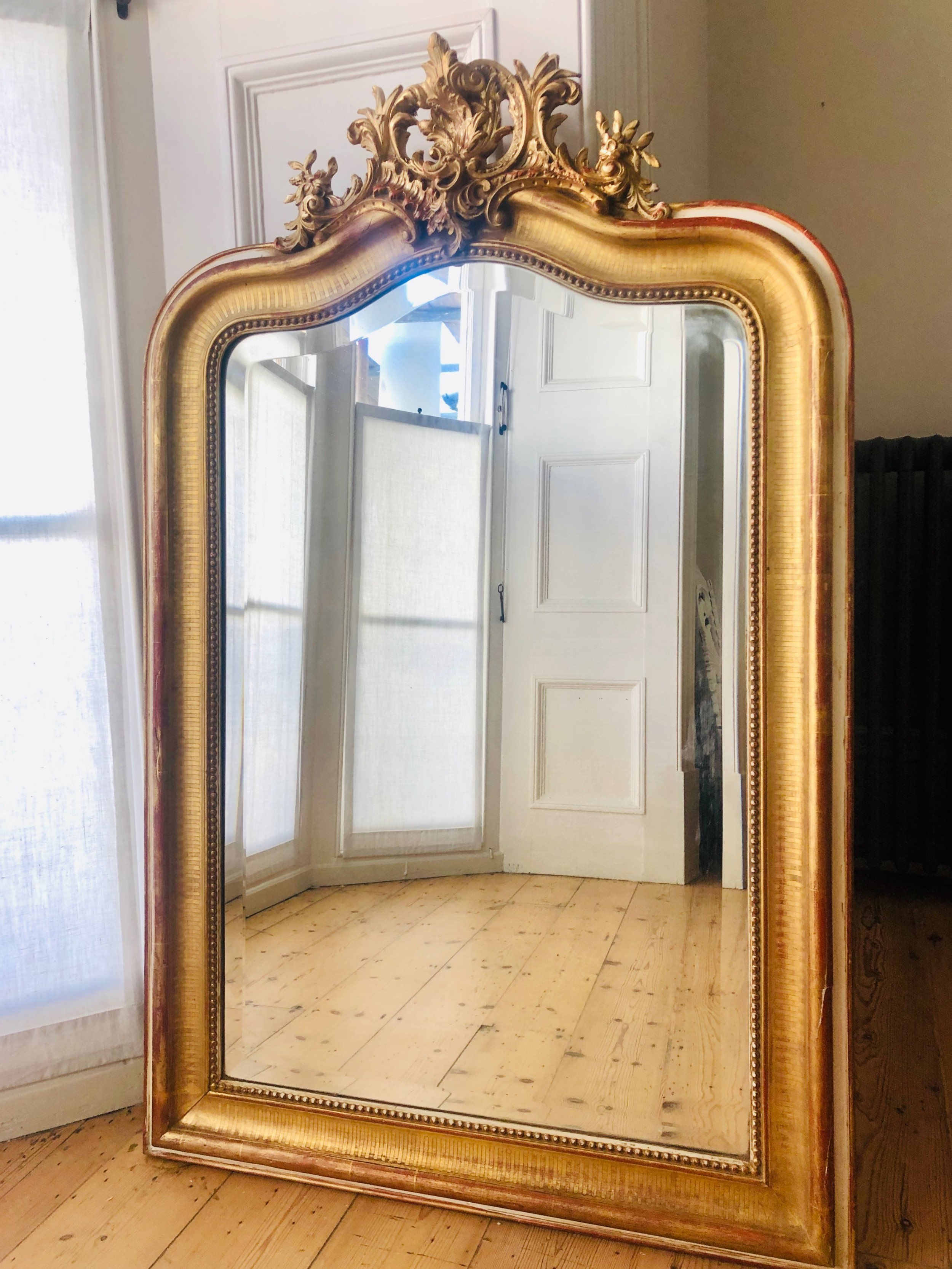 19th century antique french louis xv gilt mirror bevelled glass