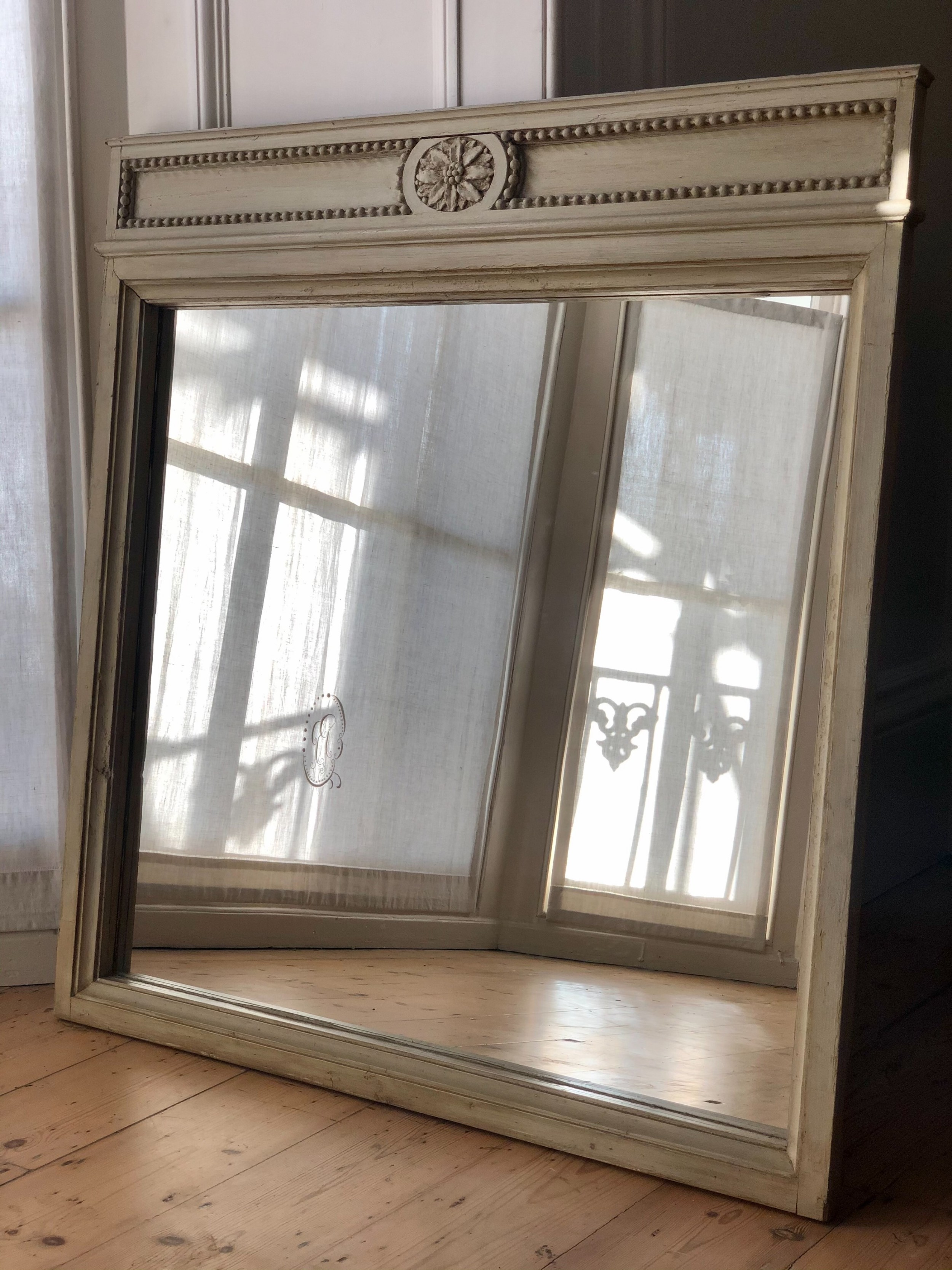 antique french painted mirror original paint