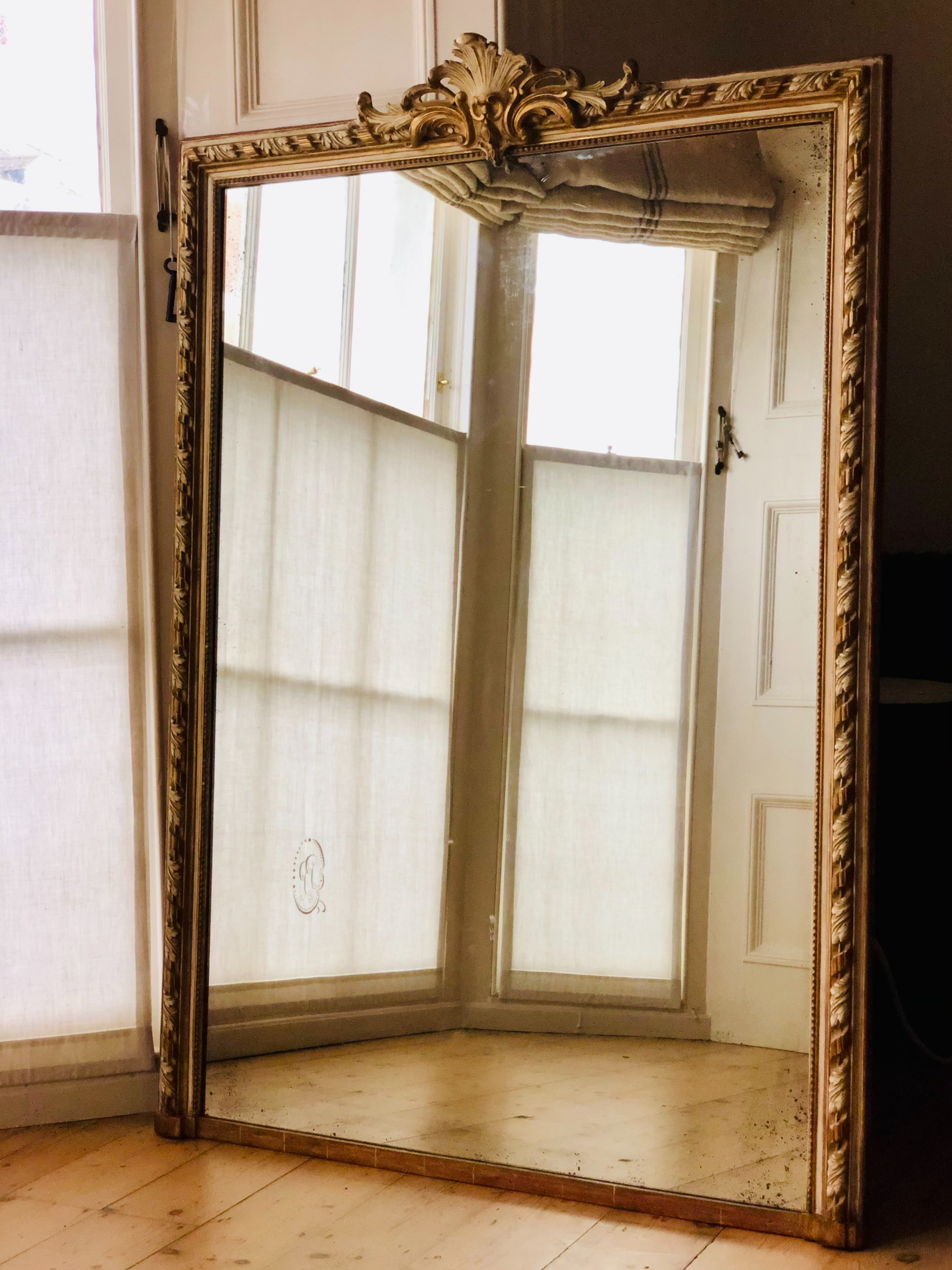 antique french gilt and gesso leaner mirror overmantel