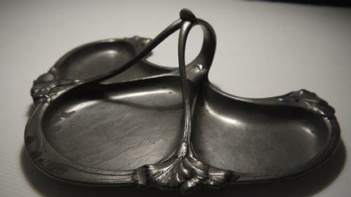 gallia french art nouveau pewter triform dish c1900