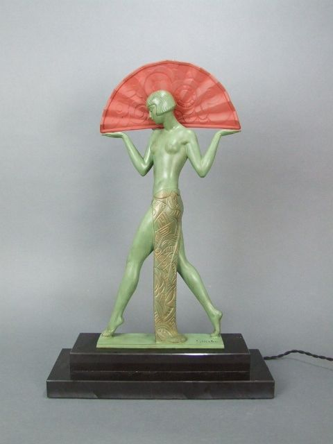 Le verrier french art deco espana lamp signed guerbe - Art deco espana ...