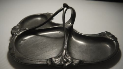 gallia french art nouveau pewter triform dish c1900