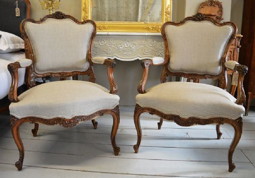 Pair Of 19thc French Louis Xv Style Walnut Fauteuil Chairs