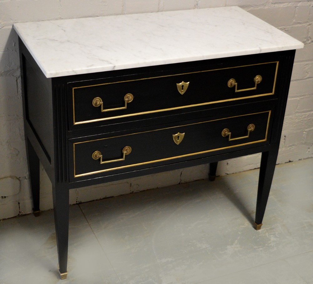 french small directoire style painted marble top commode