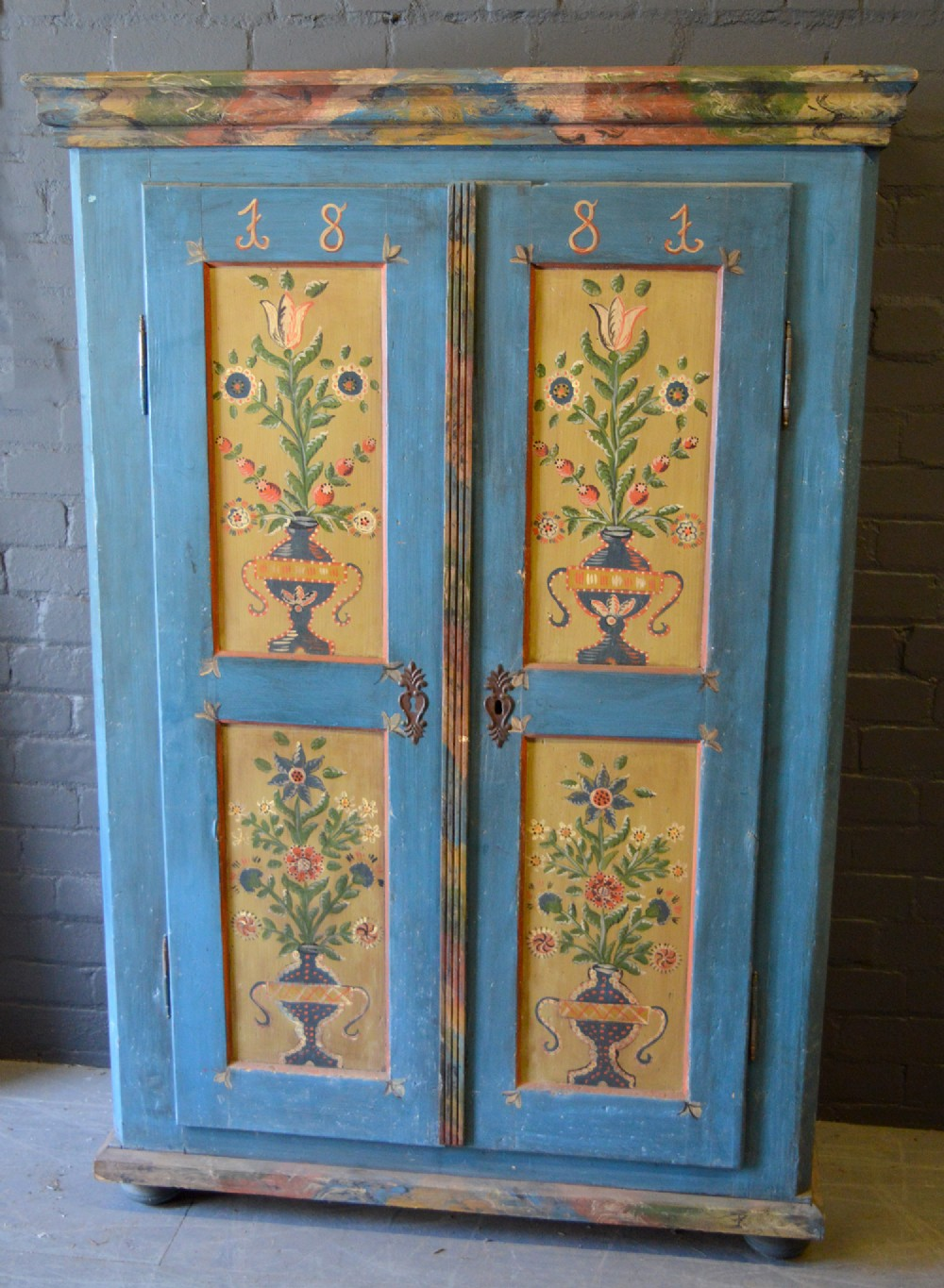 1881 Hand Painted Lorraine Marriage Armoire 563198
