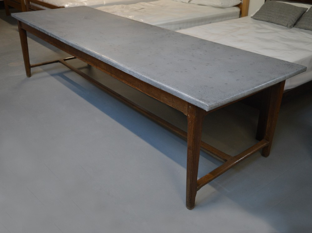 Large 3m French Country Farmhouse Oak Zinc Kitchen Refectory Table