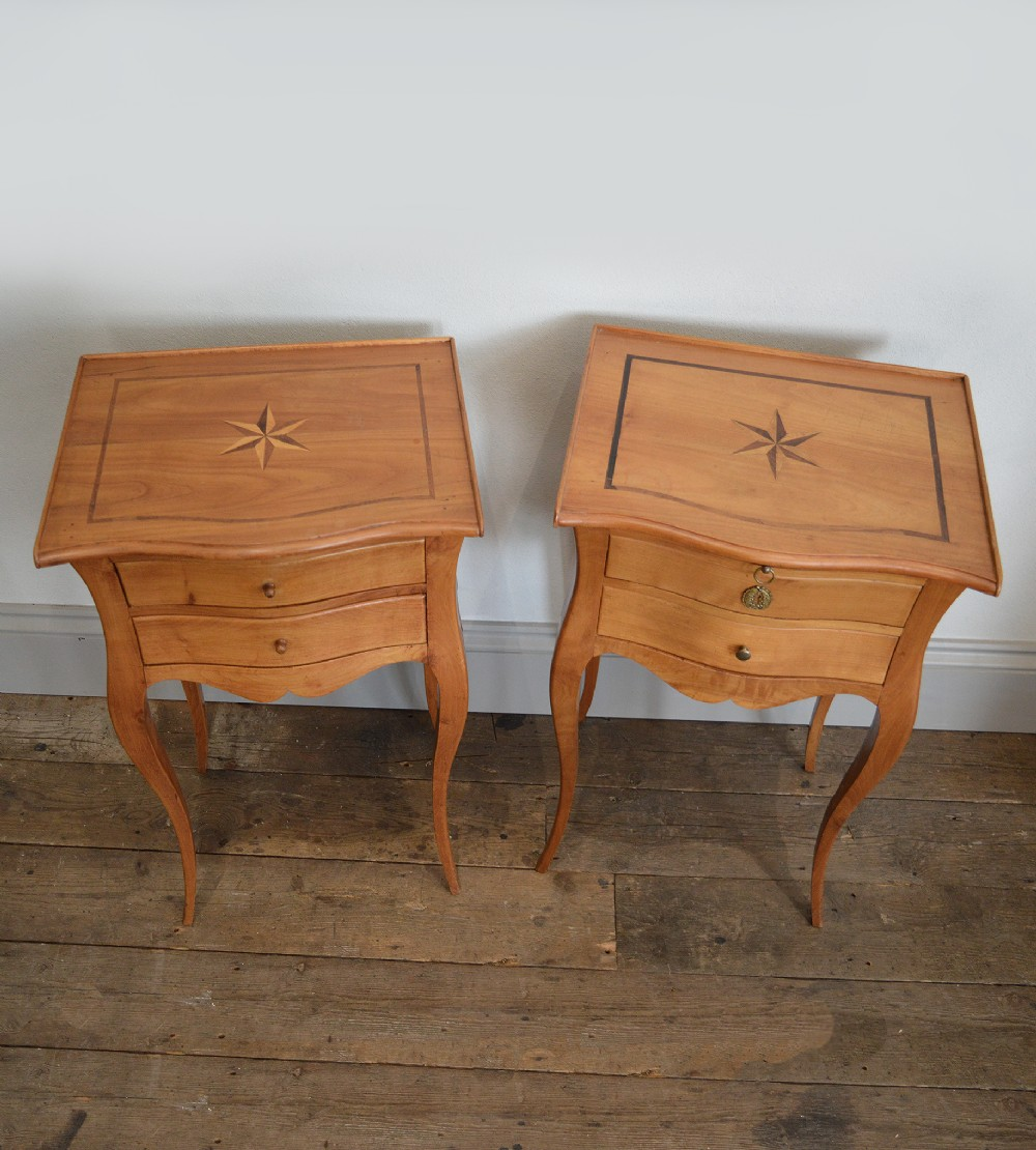 Pair Of French Solid Cherry Wood Louis Xv Style Bedside