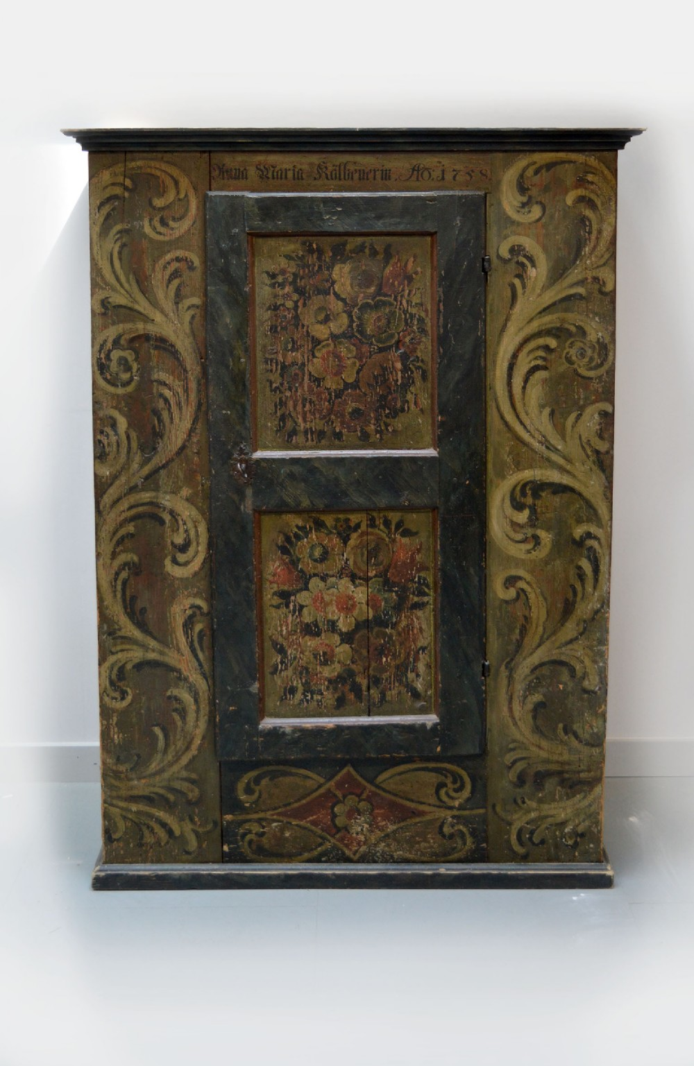 small 18thc alsace hand painted armoire dated 1758